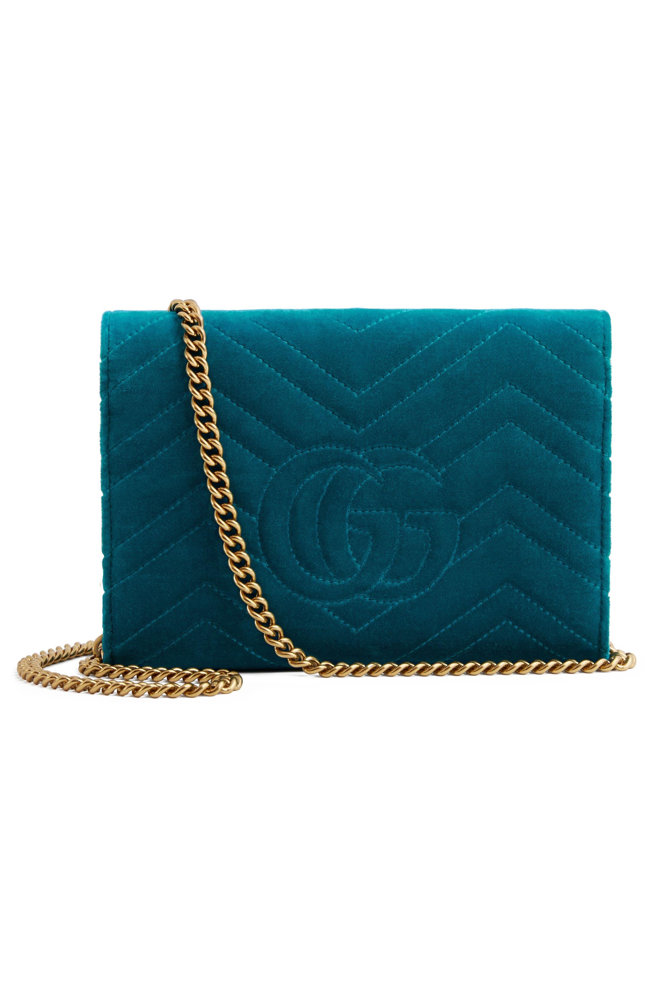GG Marmont 2.0 Matelassé Velvet Wallet on a Chain,                             Alternate thumbnail 3, color,                             PAVONE/ CYAN