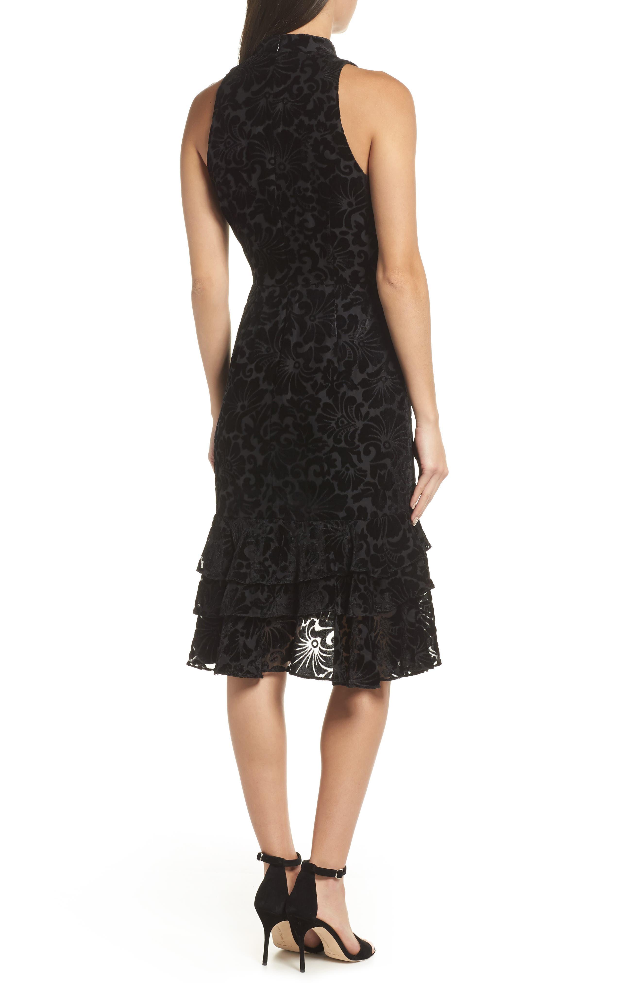 Burnout Velvet Sheath Dress,                             Alternate thumbnail 2, color,                             BLACK