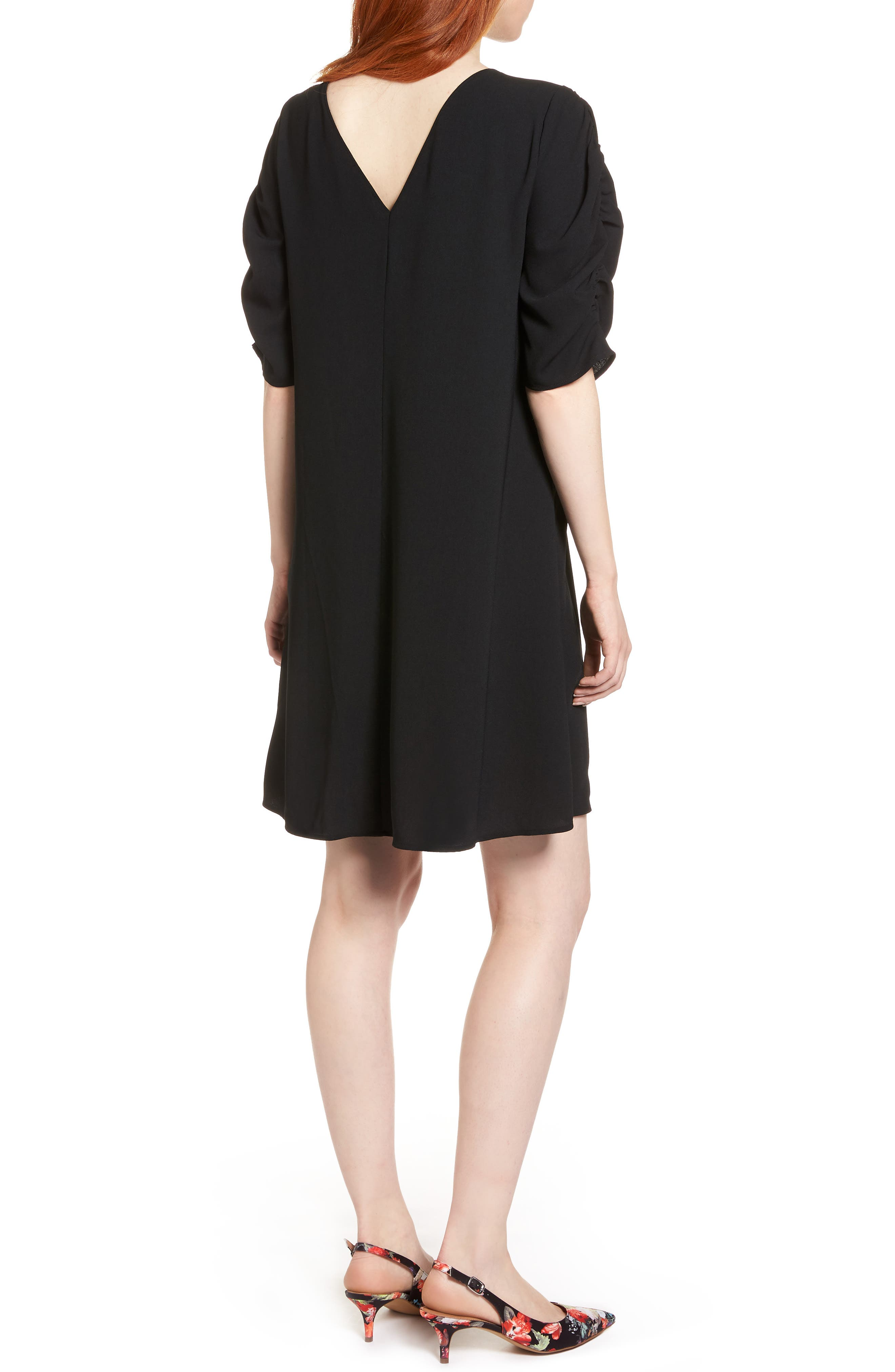 Ruched Sleeve Crepe Dress,                             Alternate thumbnail 2, color,                             001