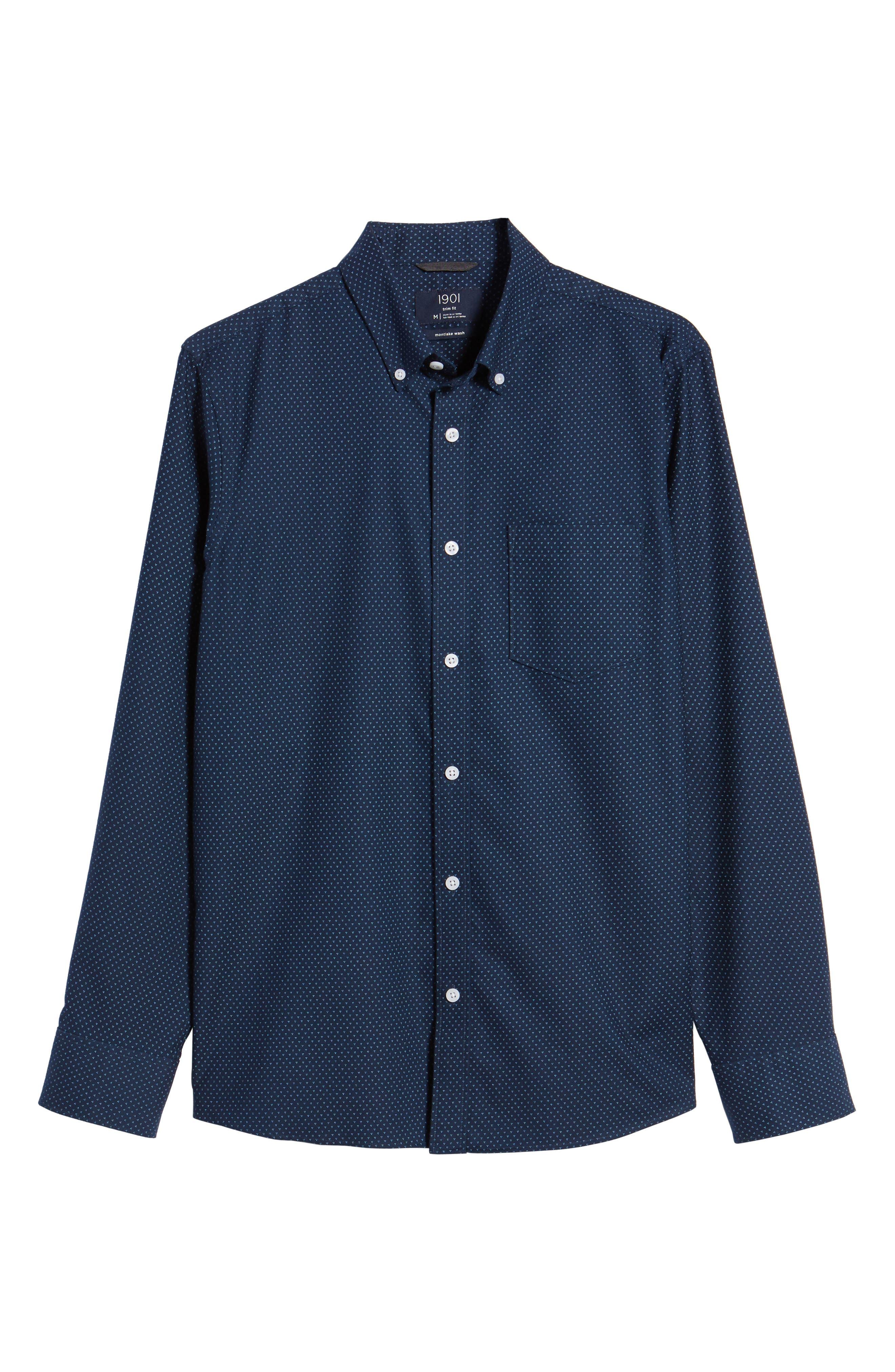 Trim Fit Print Washed Oxford Sport Shirt,                             Alternate thumbnail 6, color,                             410