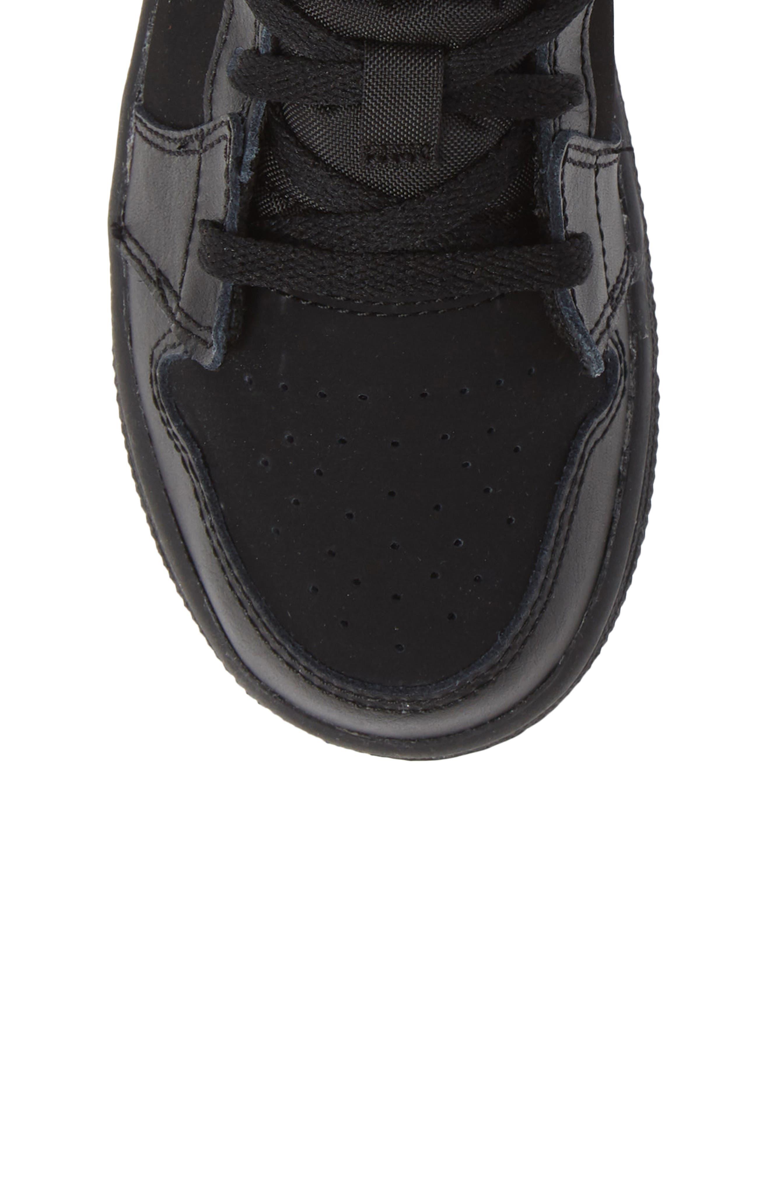 Nike 'Air Jordan 1 Mid' Sneaker,                             Alternate thumbnail 5, color,                             BLACK/ DARK GREY/ BLACK