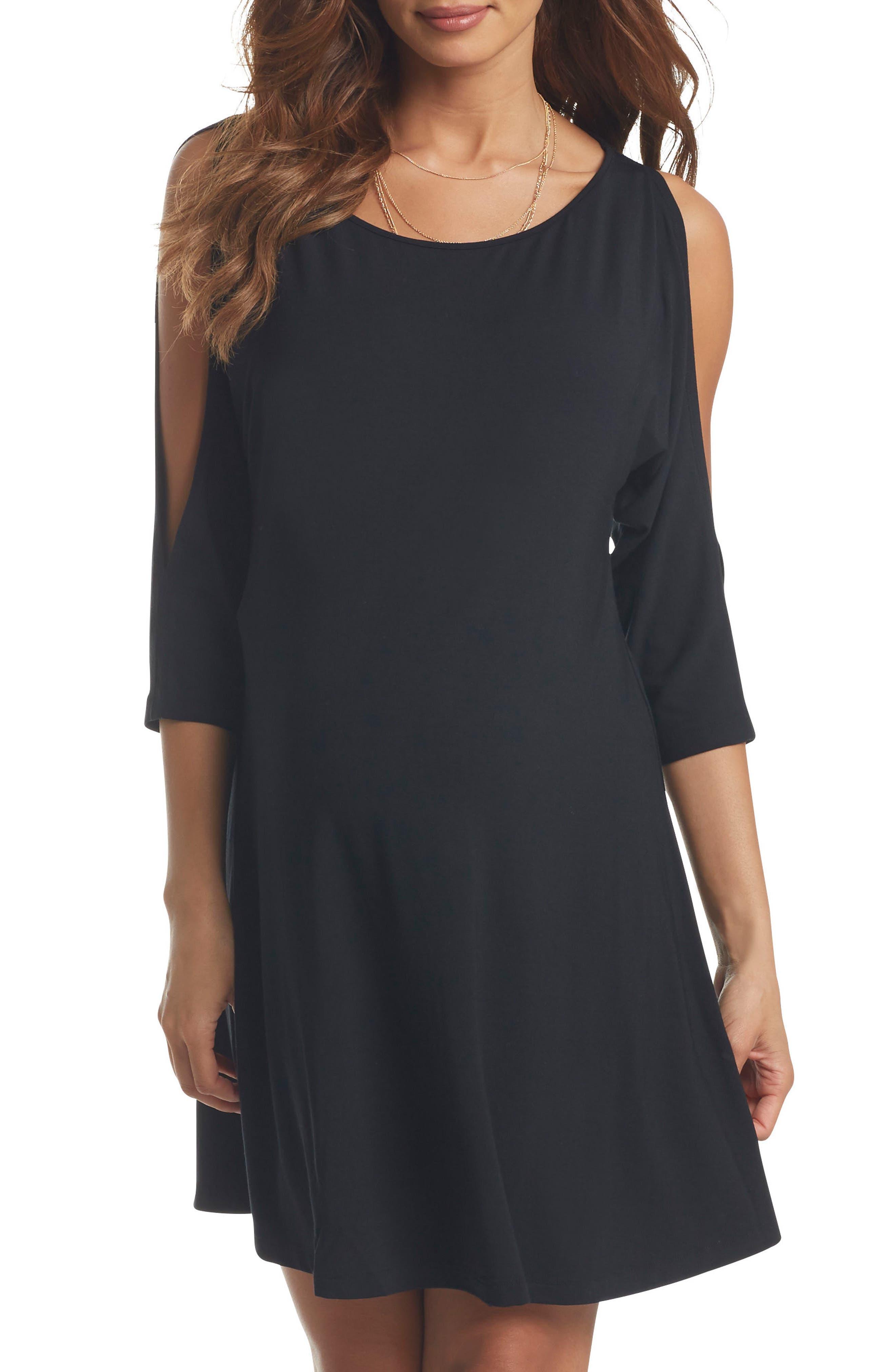Naya Cold Shoulder Maternity Dress,                             Main thumbnail 1, color,                             BLACK