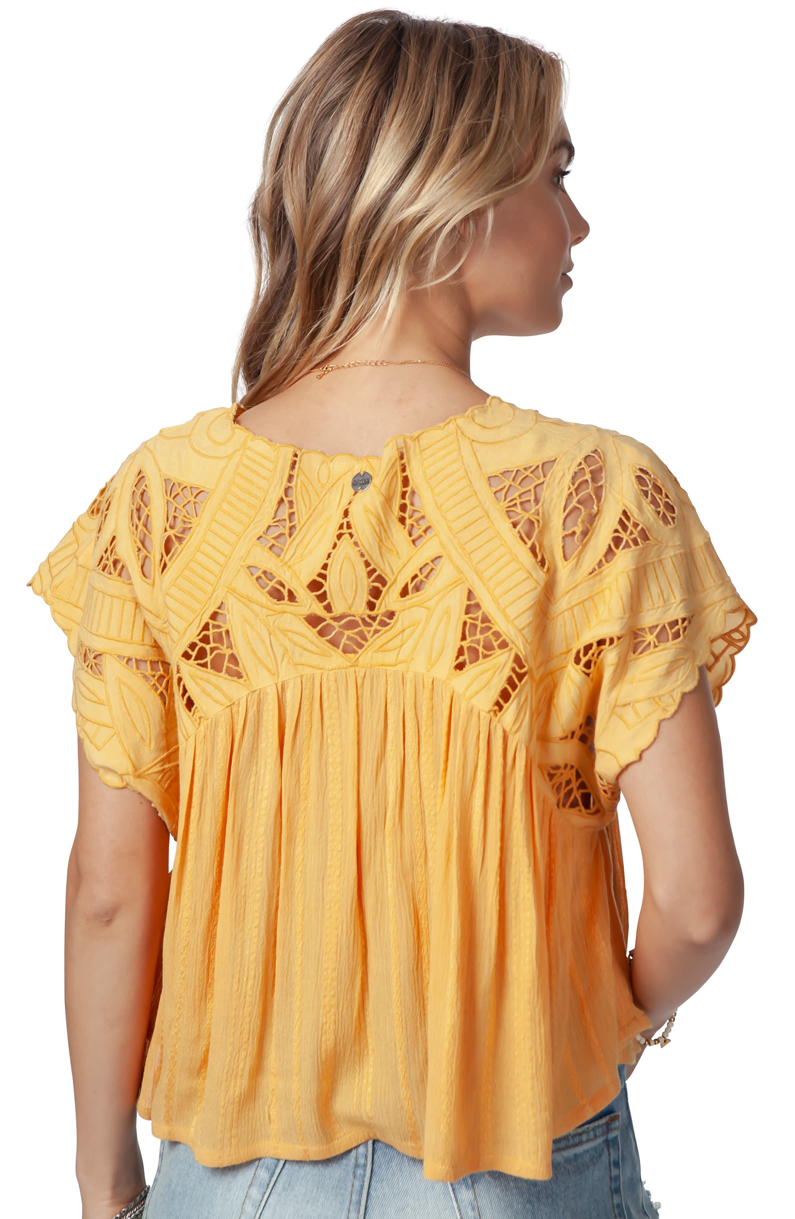 Seaview Cutwork Top,                             Alternate thumbnail 4, color,                             GOLD