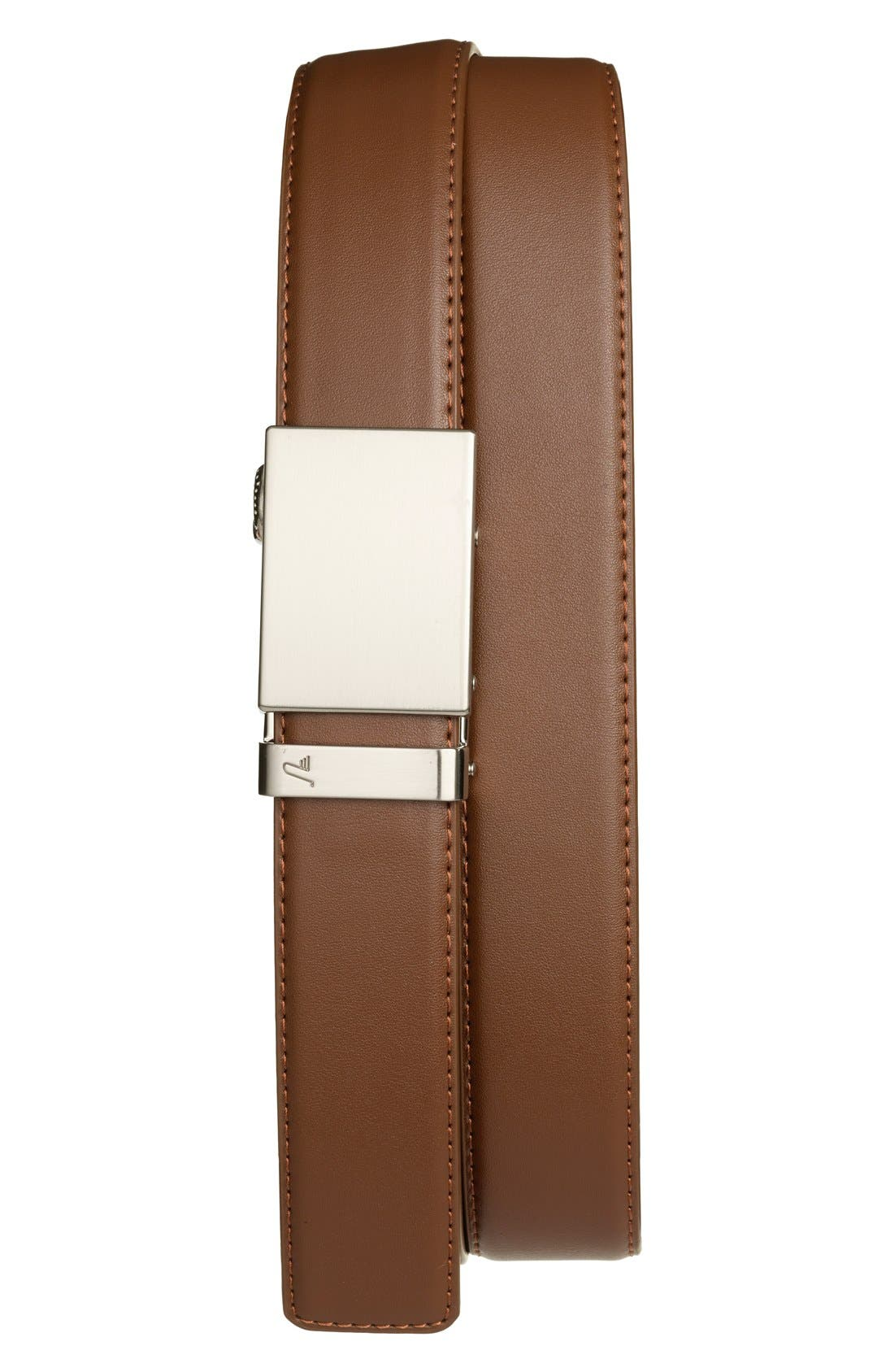 'Steel' Leather Belt,                         Main,                         color, STEEL/ MOCHA