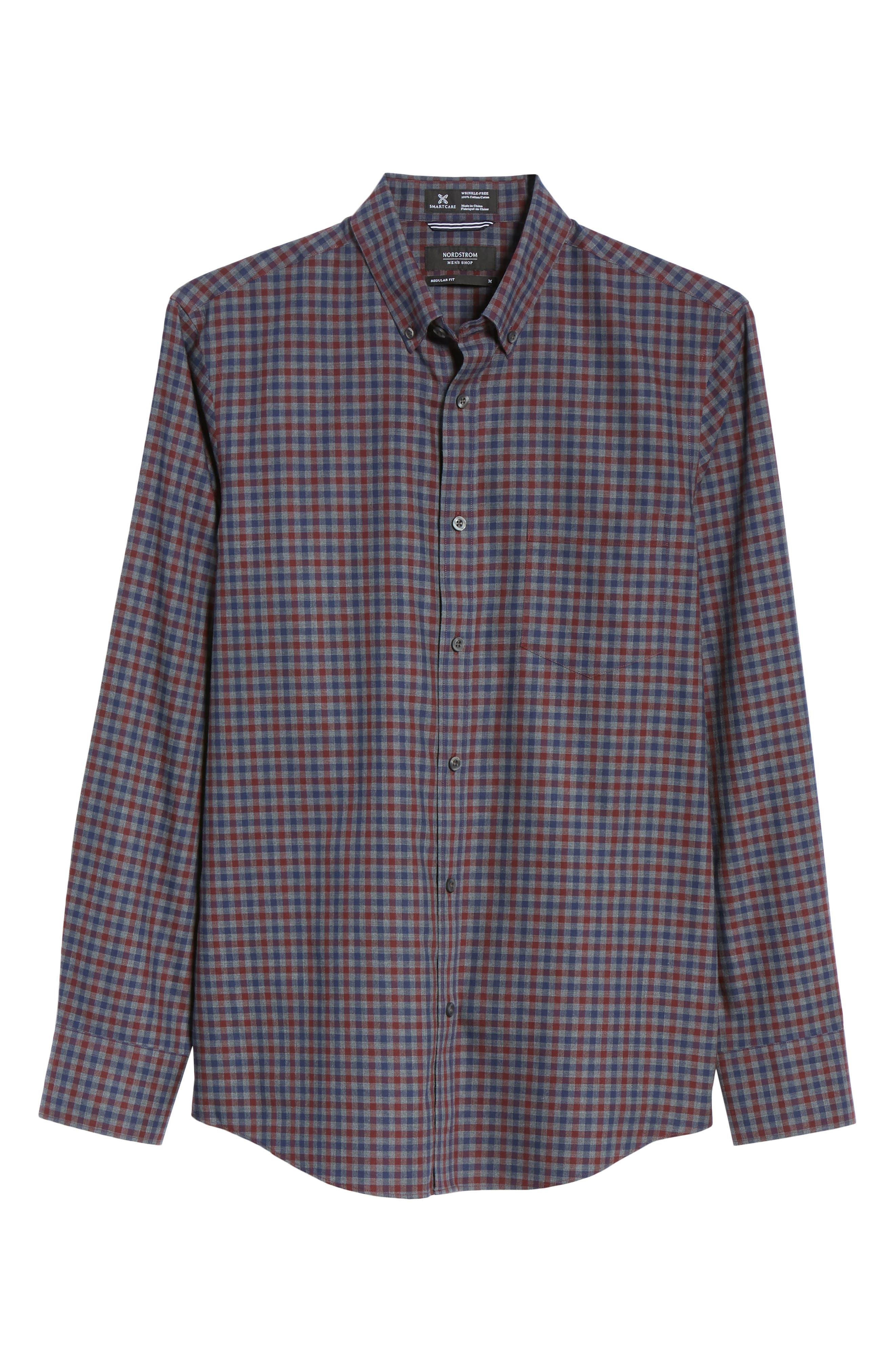 Smartcare<sup>™</sup> Regular Fit Check Sport Shirt,                             Alternate thumbnail 5, color,                             BURGUNDY ROYALE NAVY CHECK