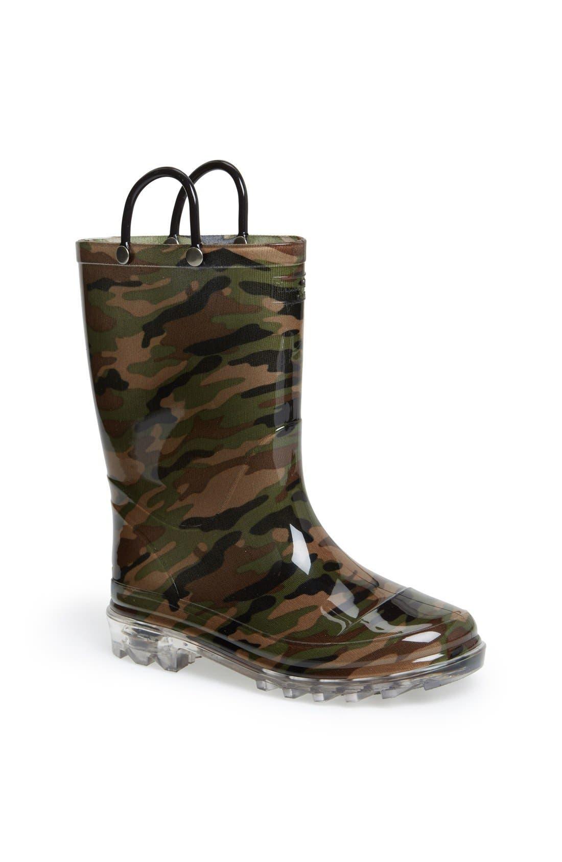 Camo Light-Up Rain Boot,                             Main thumbnail 1, color,                             GREEN