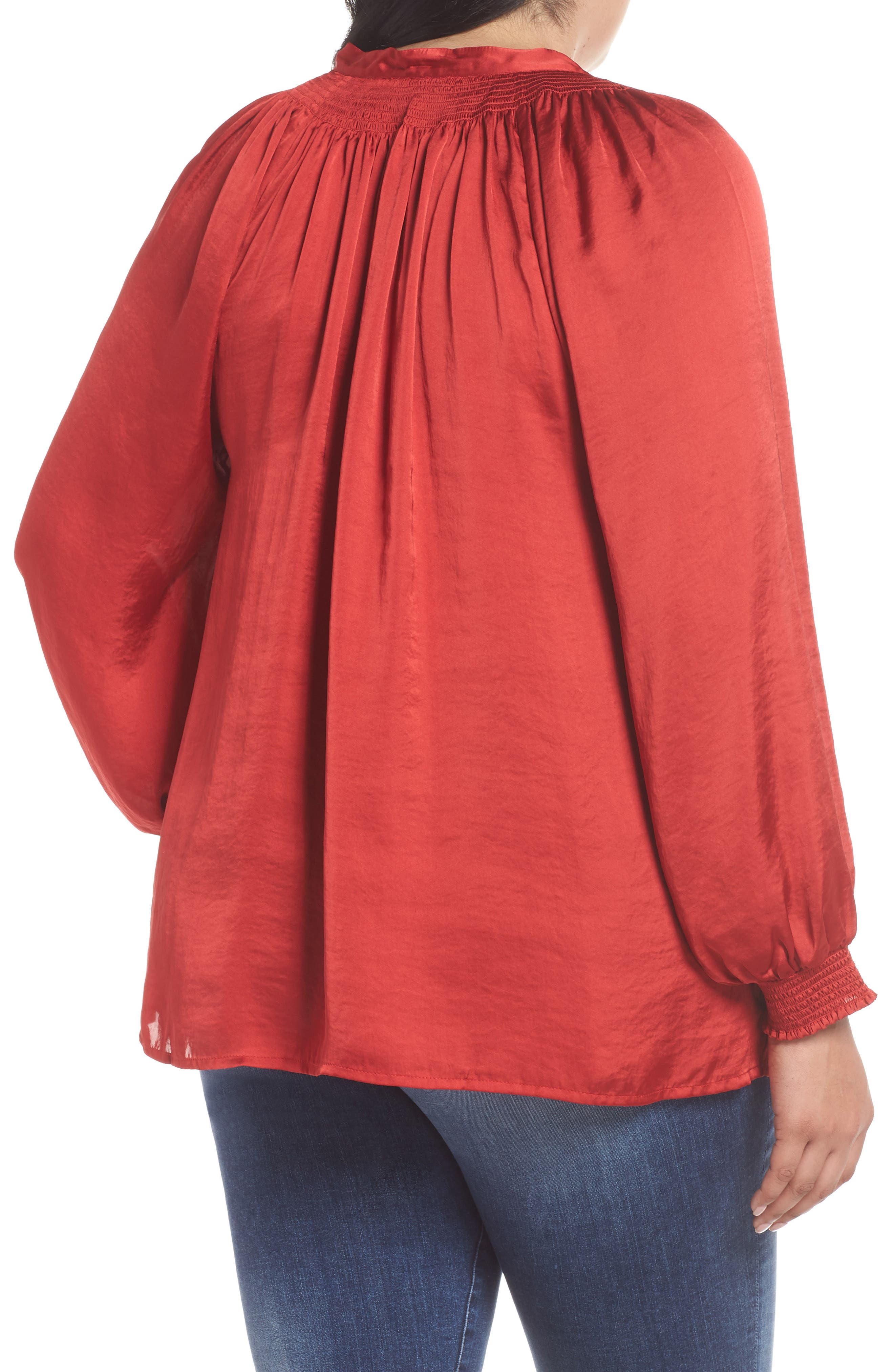 Satin Peasant Top,                             Alternate thumbnail 2, color,                             640