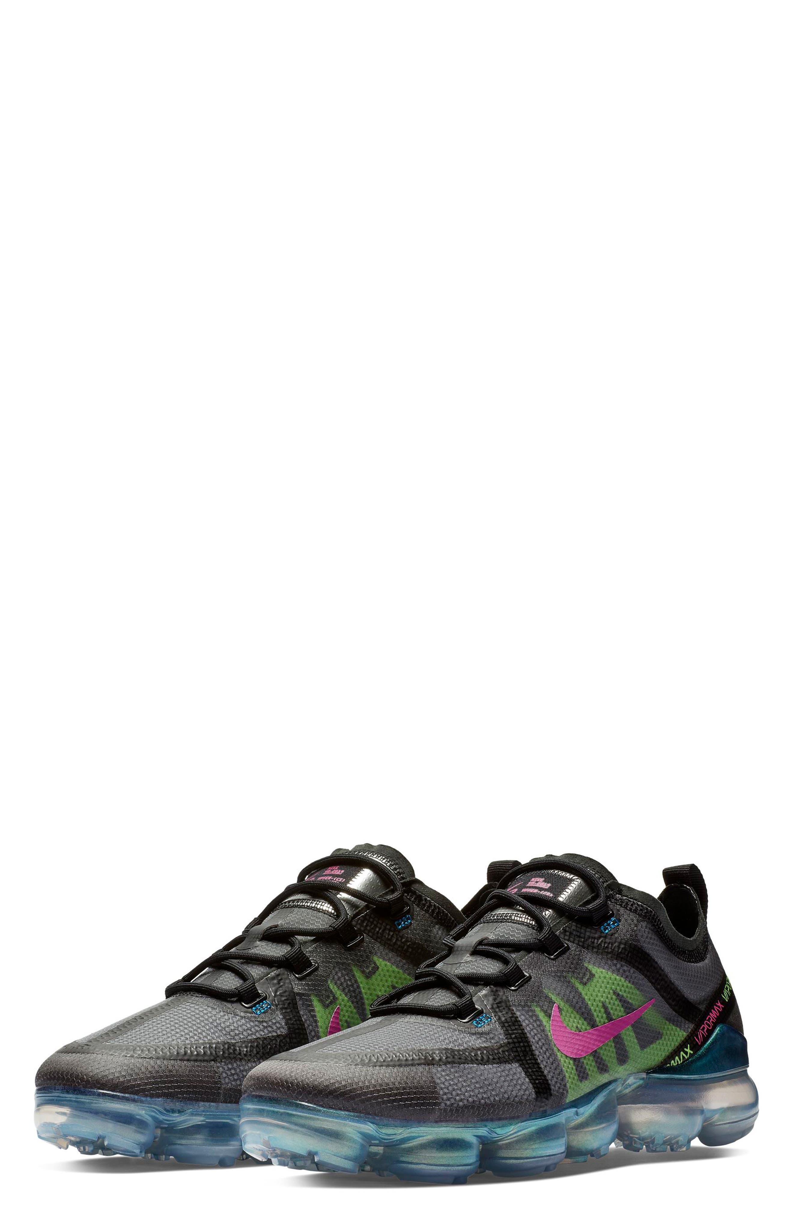 Air VaporMax 2019 Running Shoe,                             Main thumbnail 1, color,                             BLACK/ FUCHSIA/ BLUE