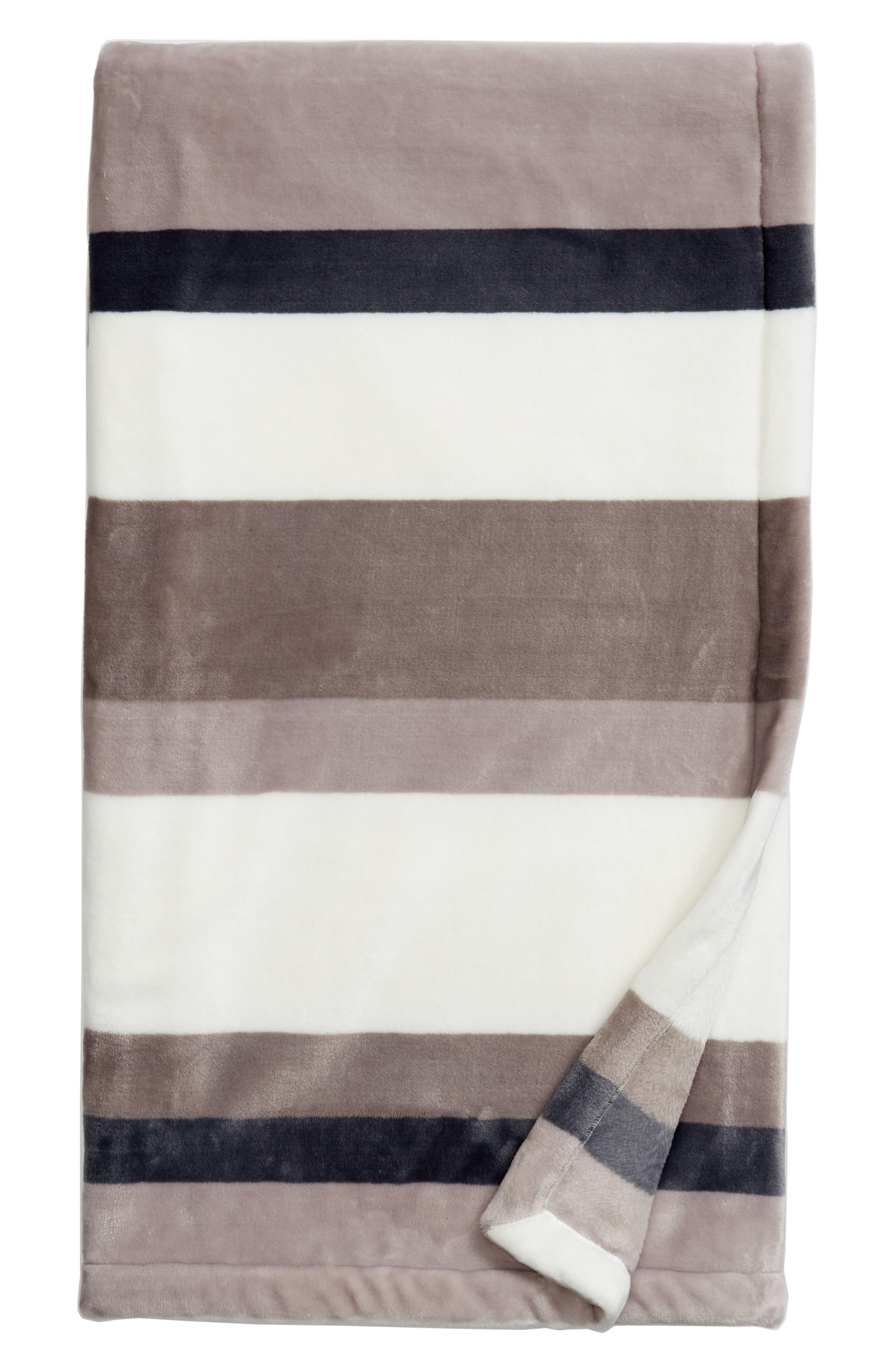 Tonal Stripe Plush Throw,                             Main thumbnail 1, color,                             020