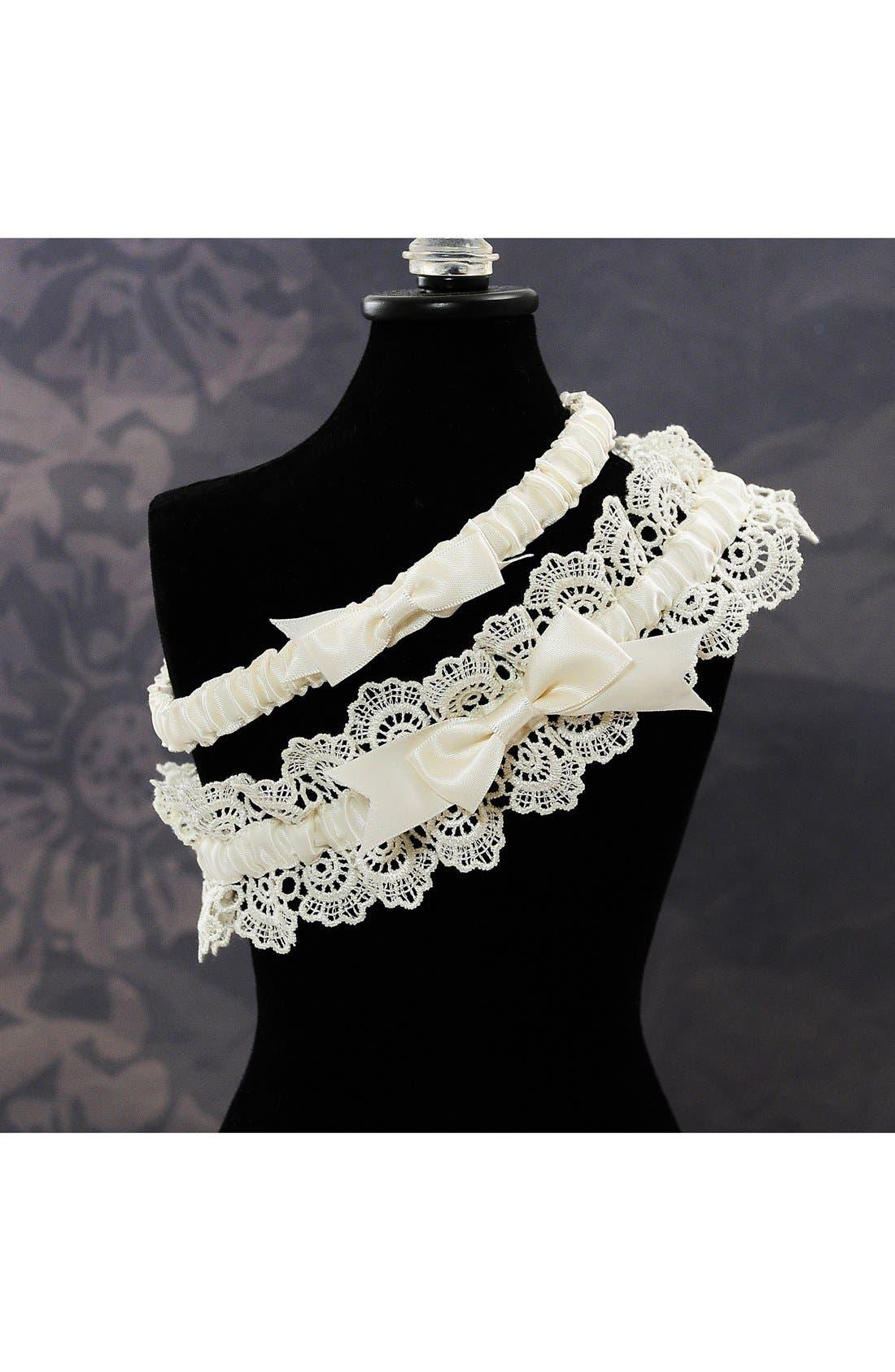 'Eleanor' Lace Wedding Garter,                             Alternate thumbnail 2, color,