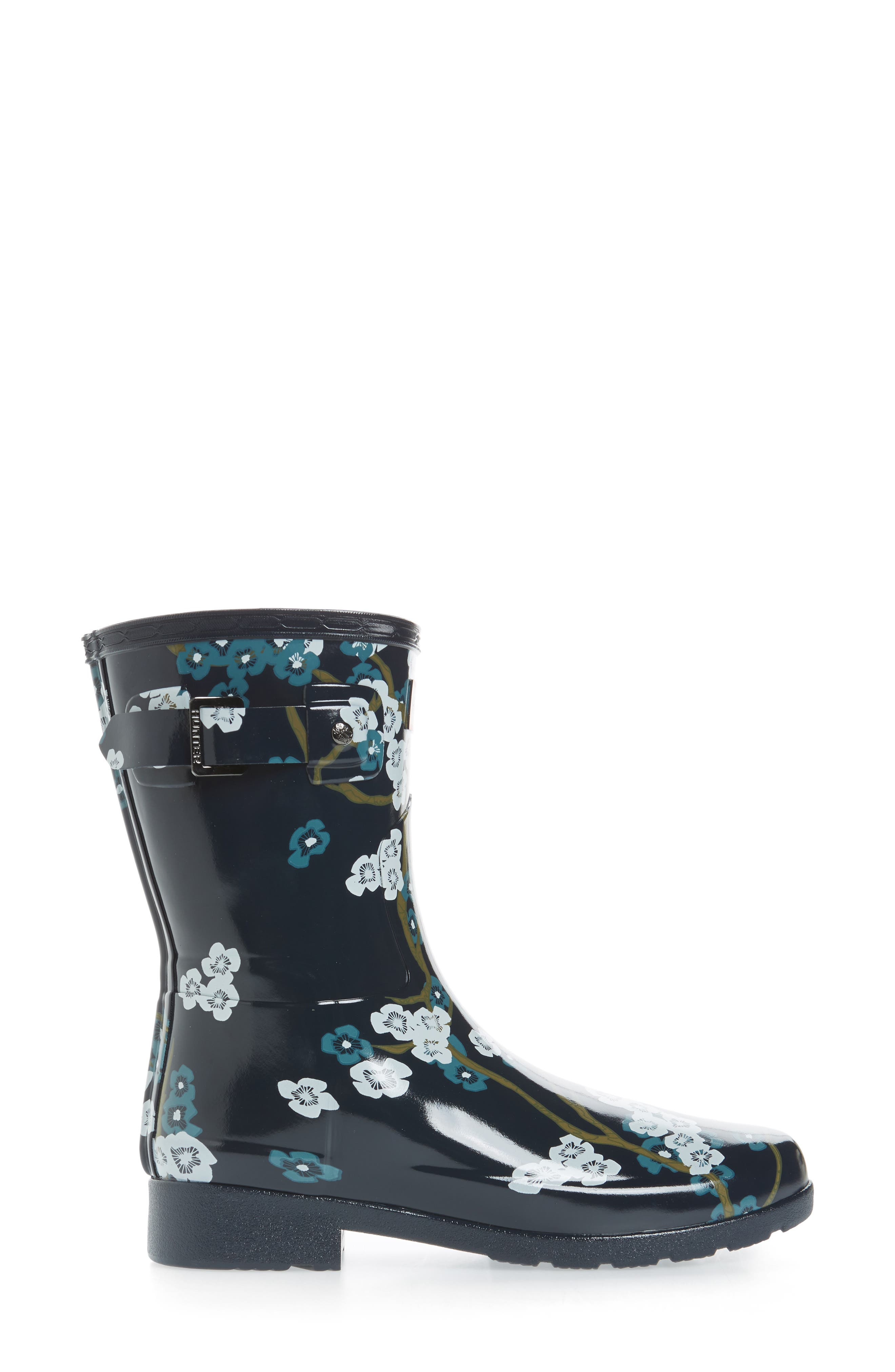 Original Refined Blossom Print Rain Boot,                             Alternate thumbnail 3, color,                             400