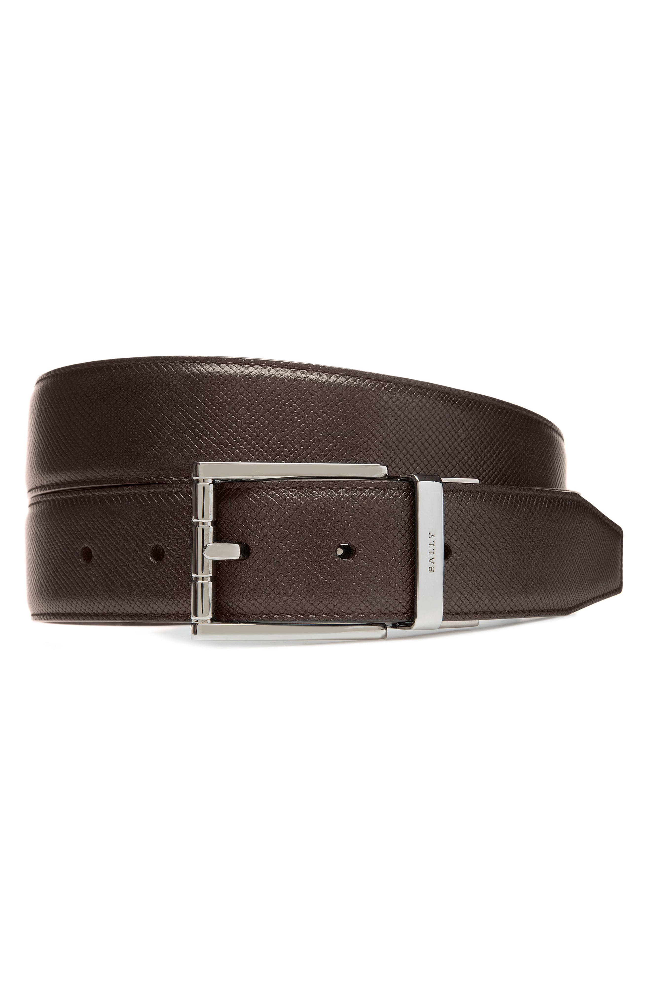 Astor Reversible Leather Belt,                             Main thumbnail 1, color,                             COFFEE