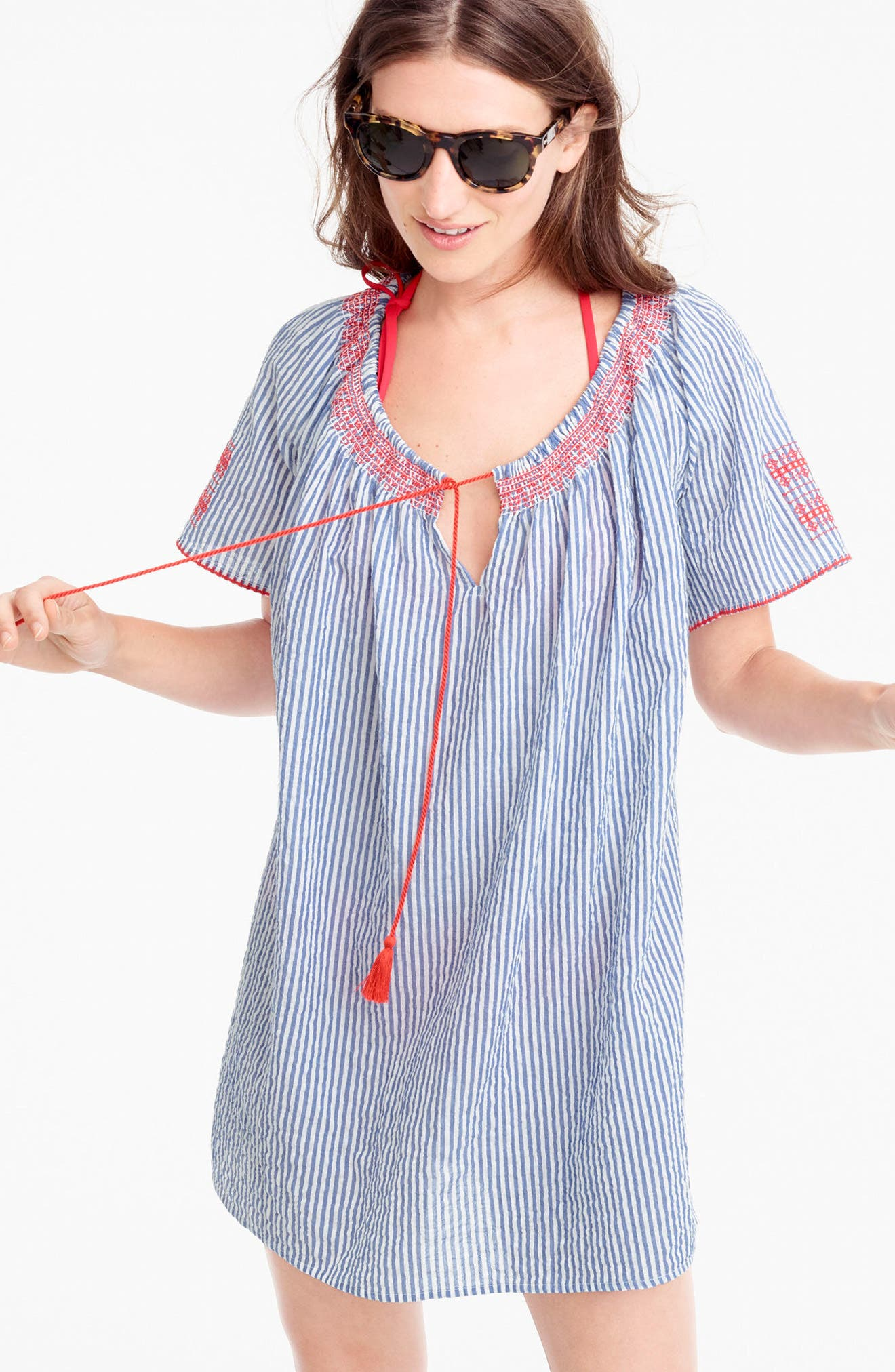 Embroidered Tie Front Tunic,                             Alternate thumbnail 2, color,                             400