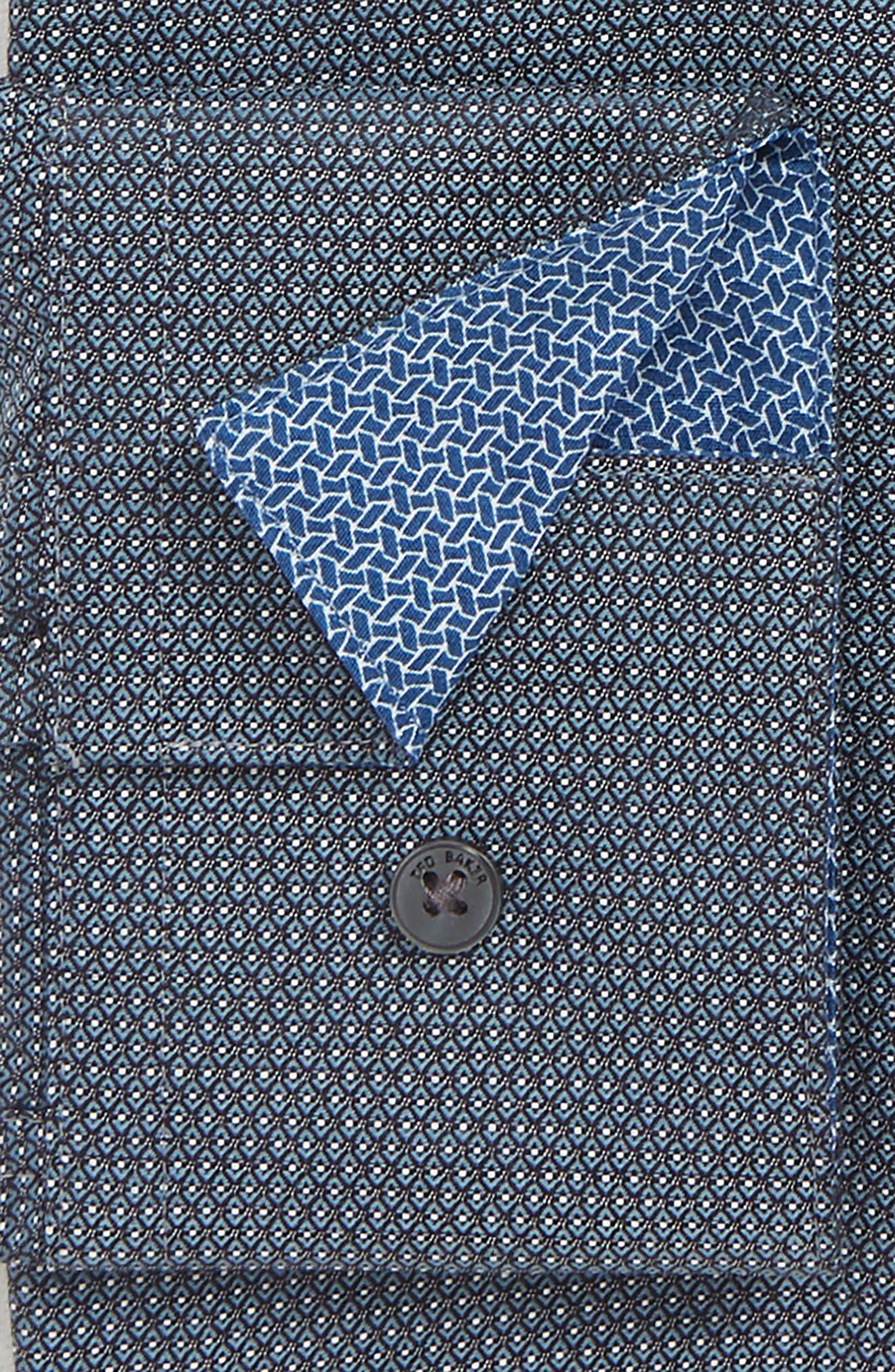 Coorm Trim Fit Geometric Dress Shirt,                             Alternate thumbnail 2, color,                             BLACK