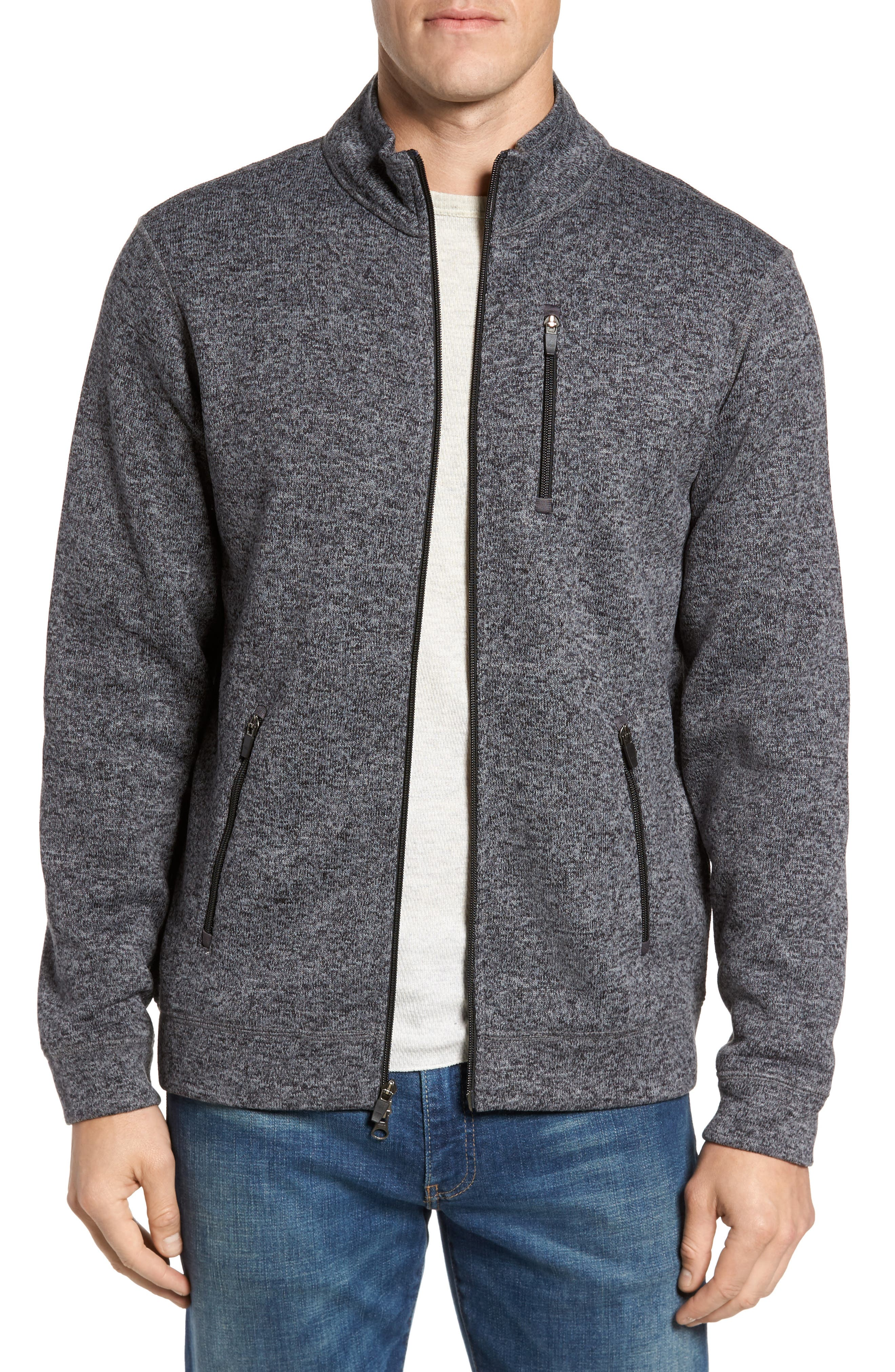 Sweater Knit Fleece Zip Front Jacket,                             Main thumbnail 1, color,