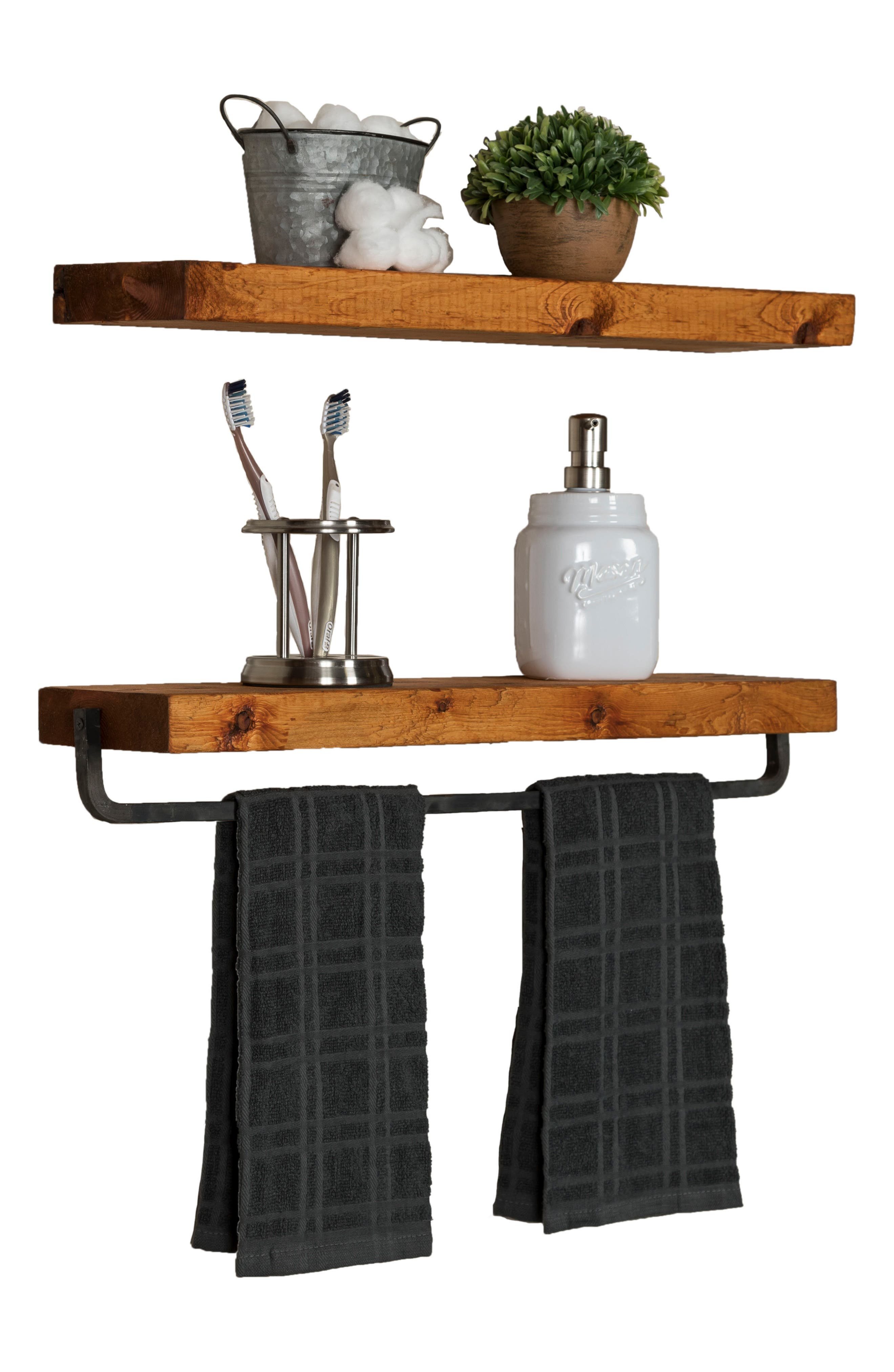 Set of 2 Floating Shelves with Towel Rack,                             Alternate thumbnail 5, color,