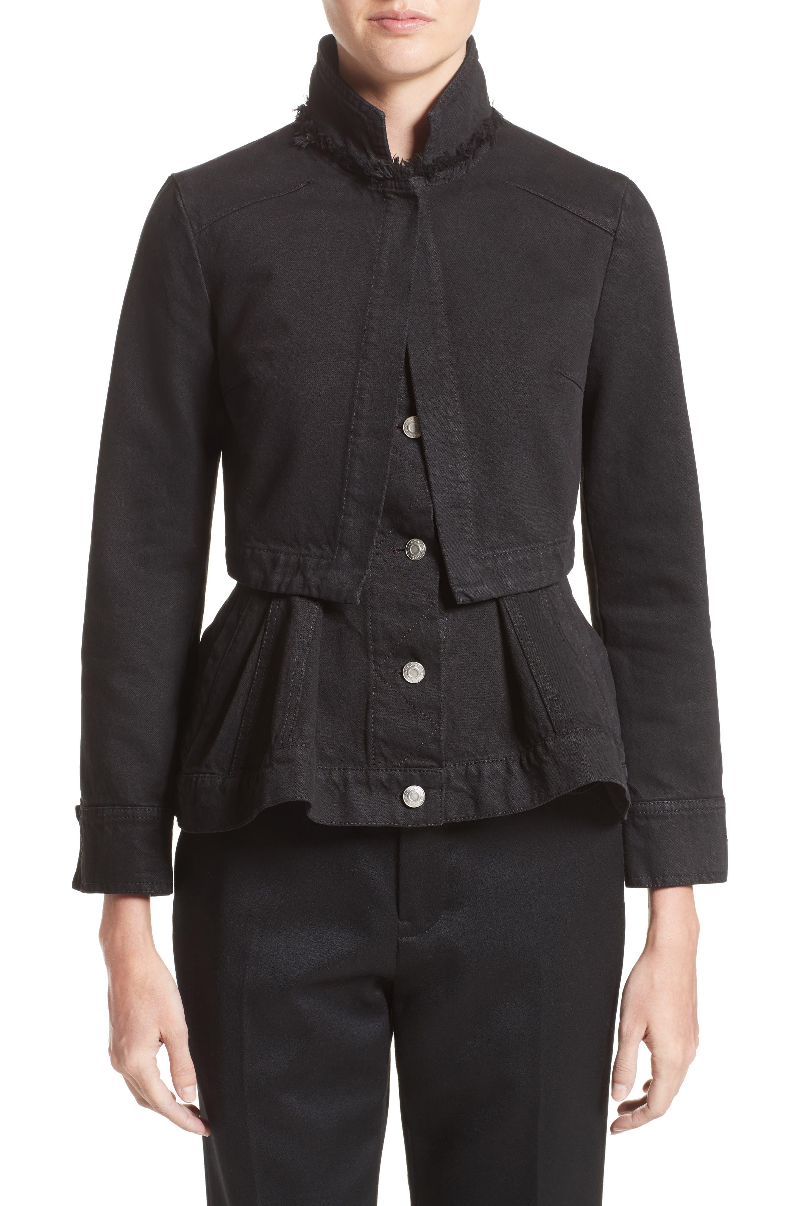 Peplum Denim Jacket,                         Main,                         color, 001