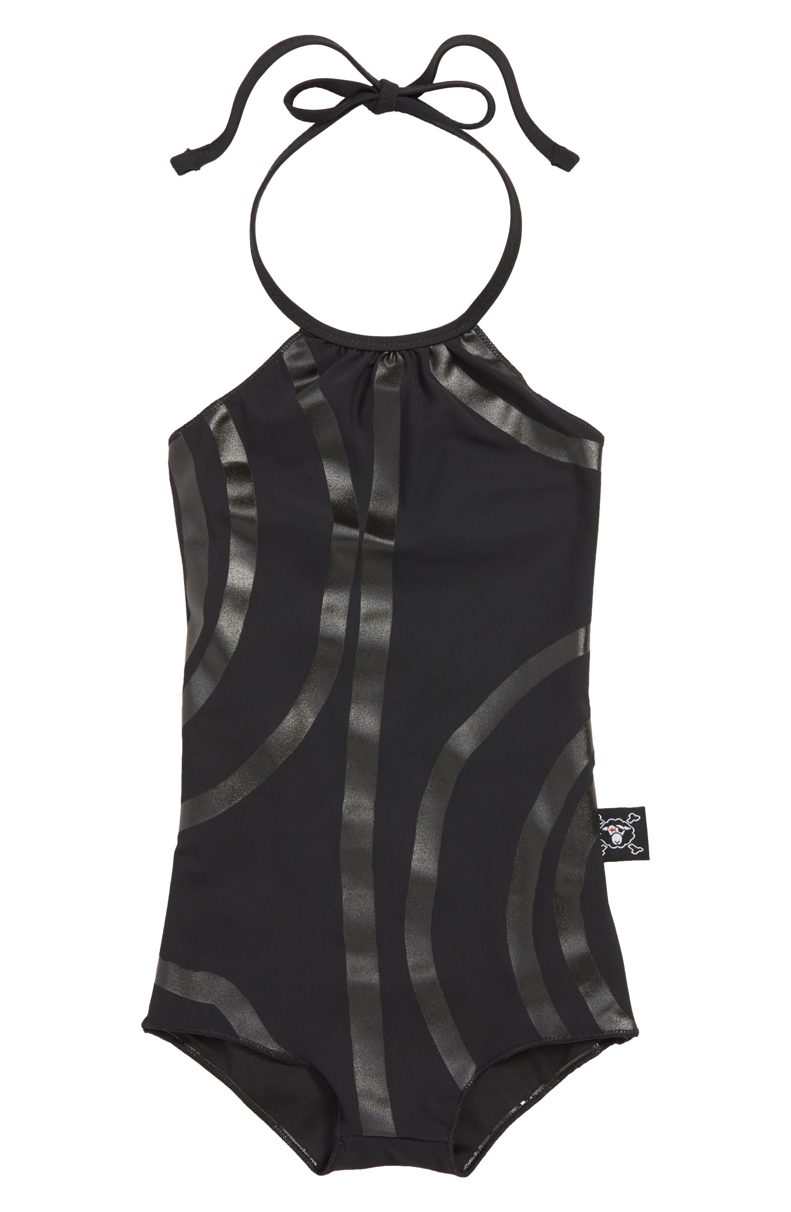 NUNUNU Circle One-Piece Swimsuit, Main, color, BLACK