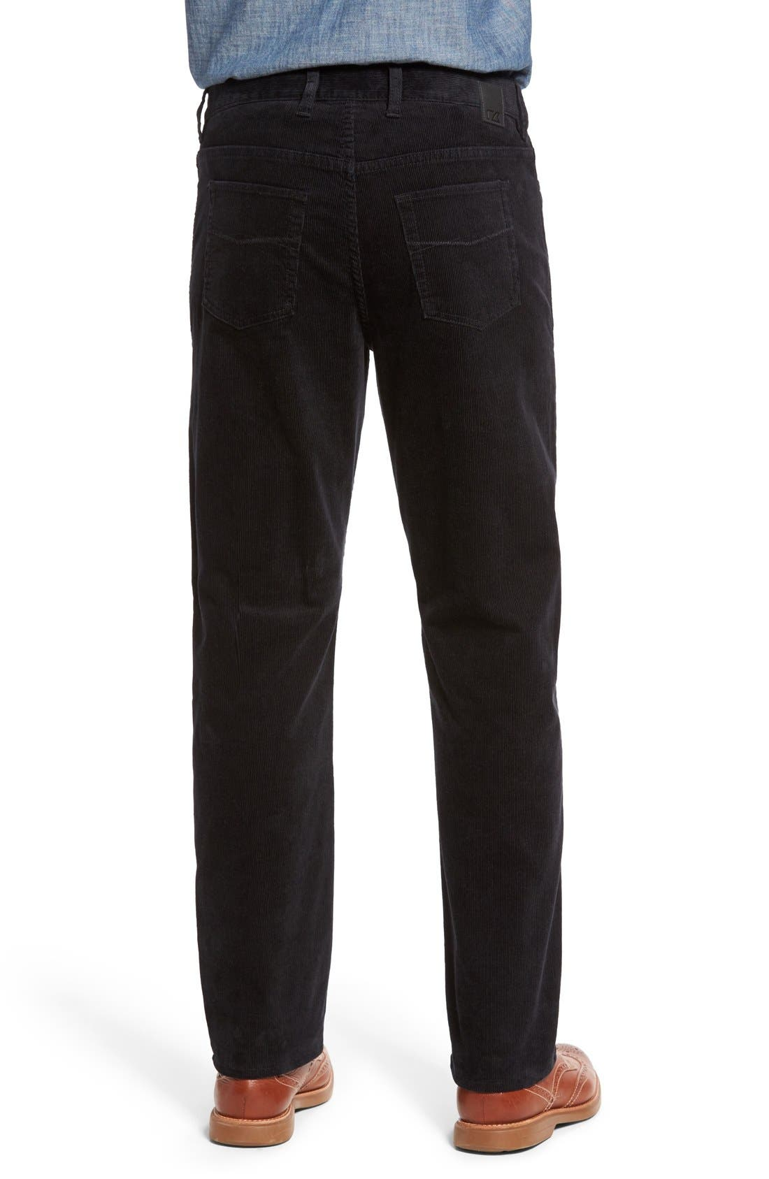 Greenwood Stretch Corduroy Pants,                             Alternate thumbnail 4, color,                             BLACK
