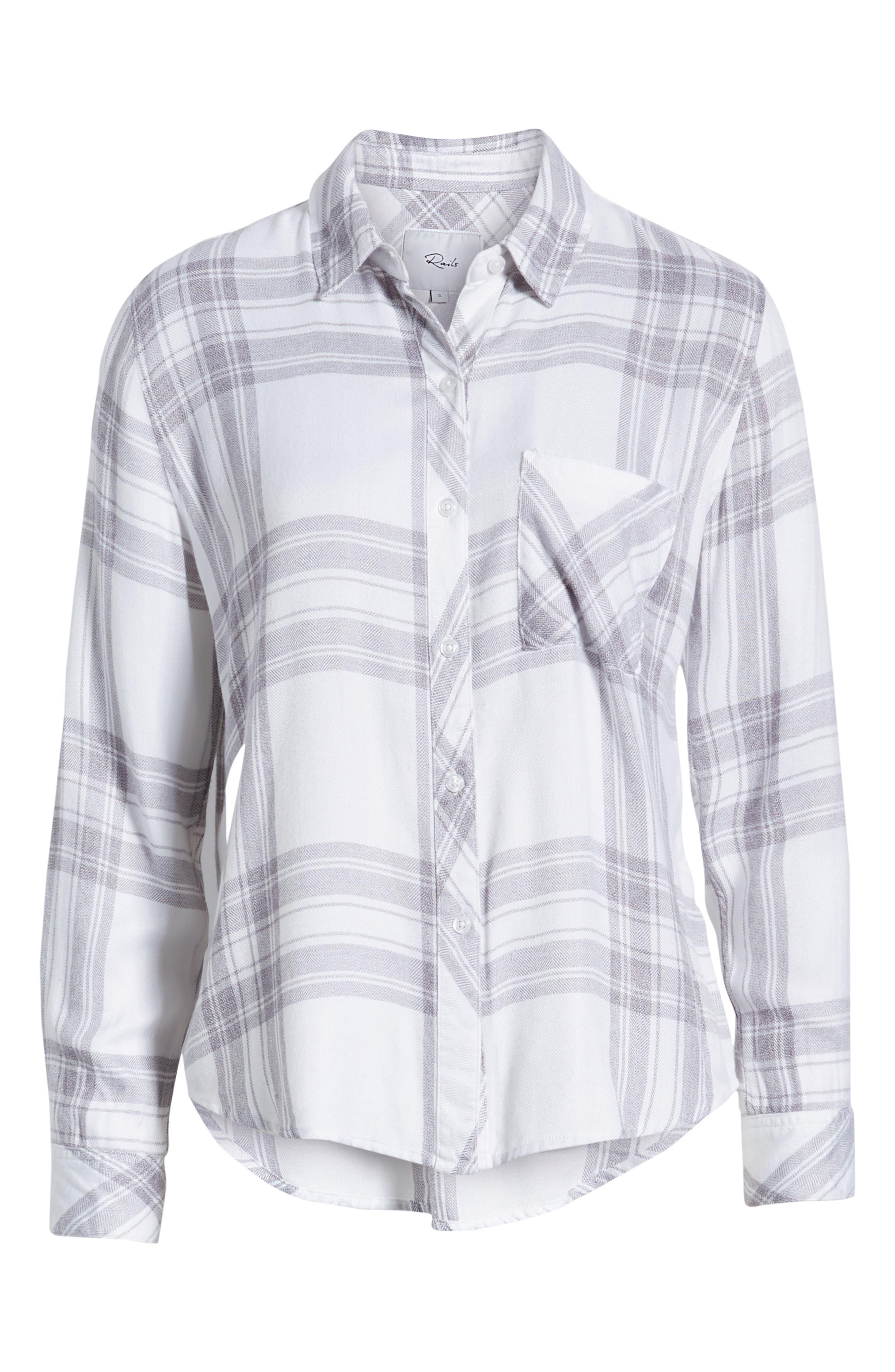 RAILS,                             Hunter Plaid Shirt,                             Alternate thumbnail 7, color,                             WHITE PEPPER