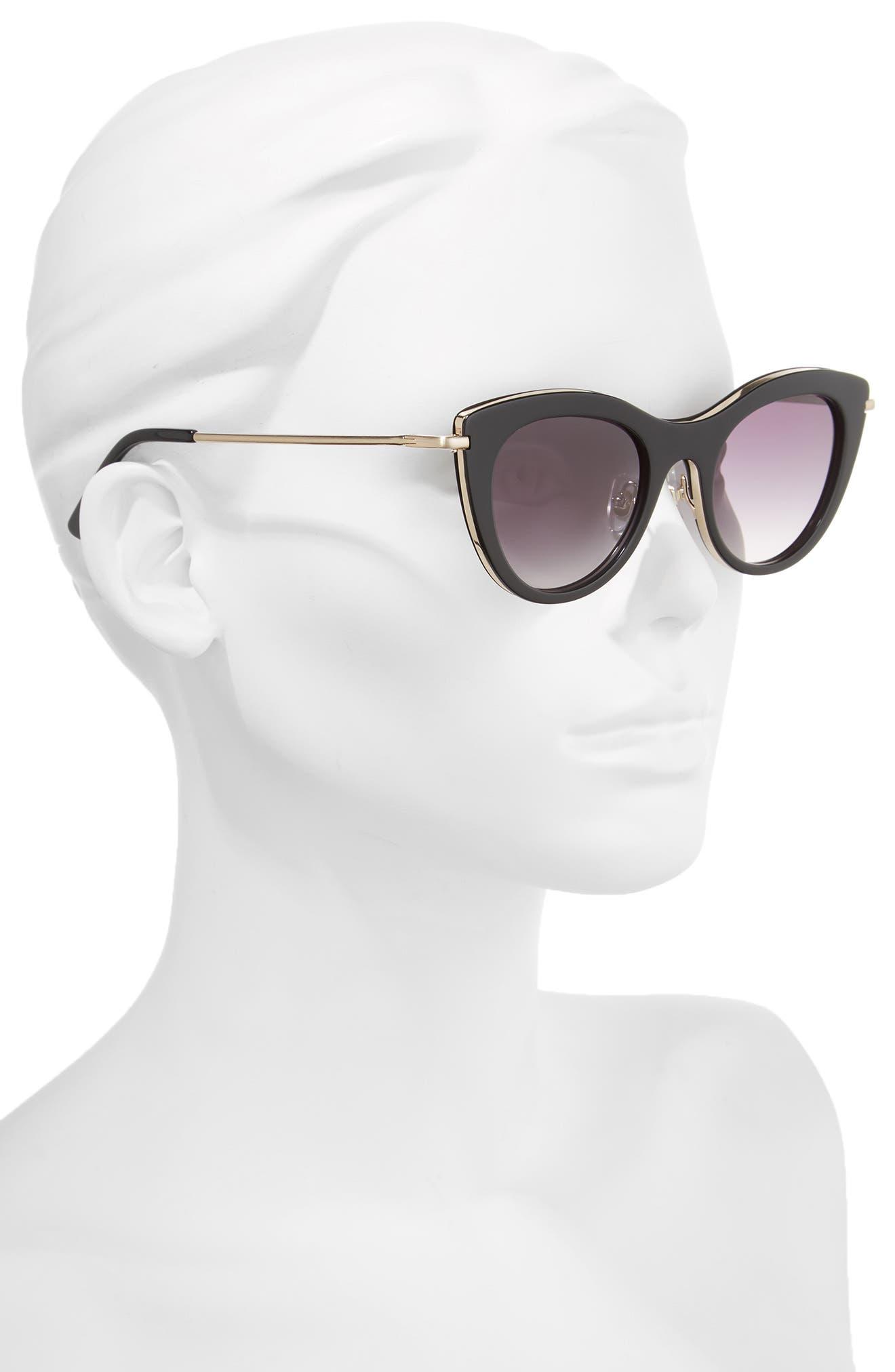 Gansevoort 48mm Special Fit Cat Eye Sunglasses,                             Alternate thumbnail 2, color,                             001