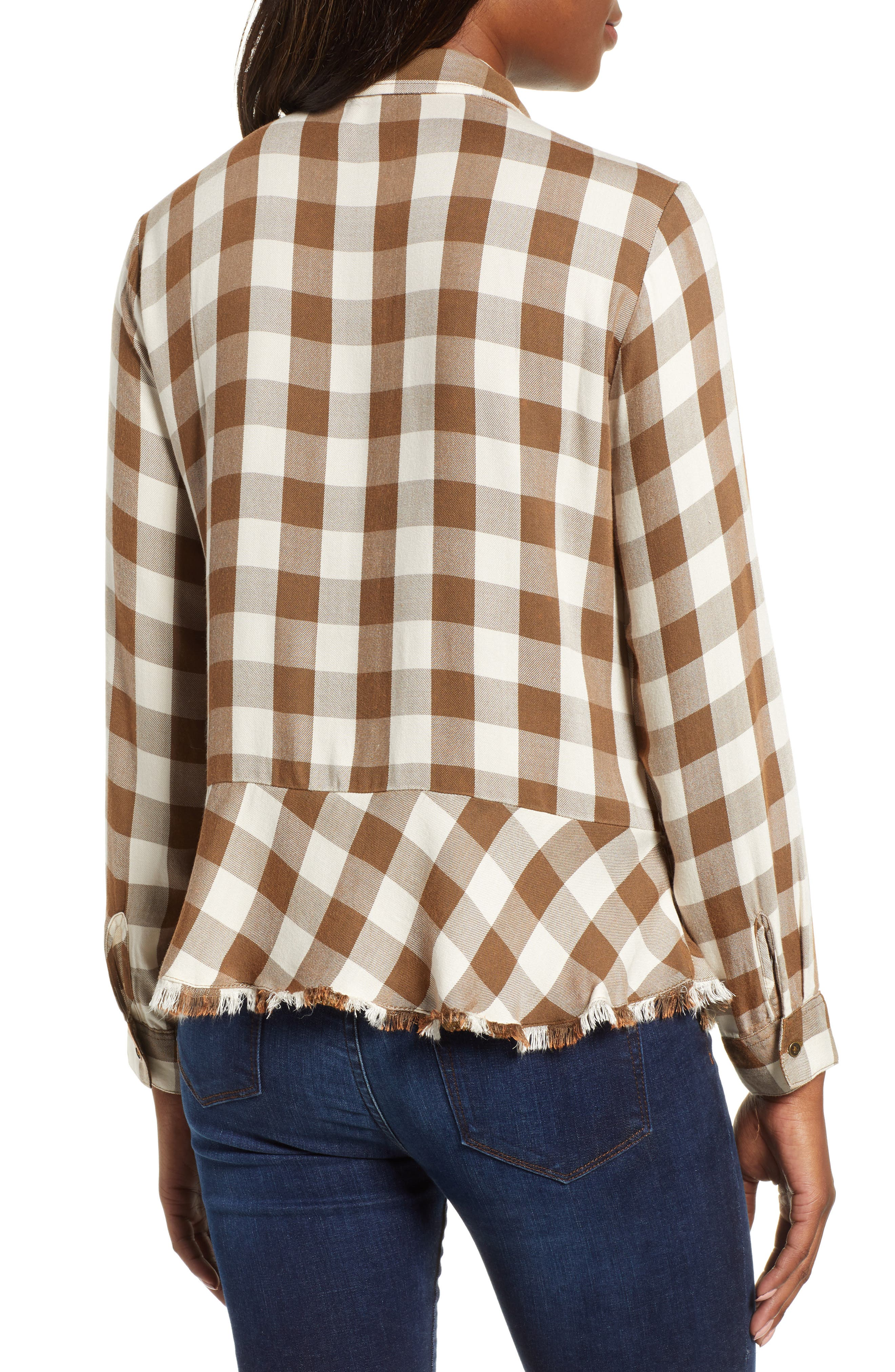 Peplum Plaid Shirt,                             Alternate thumbnail 2, color,                             ASH GREEN