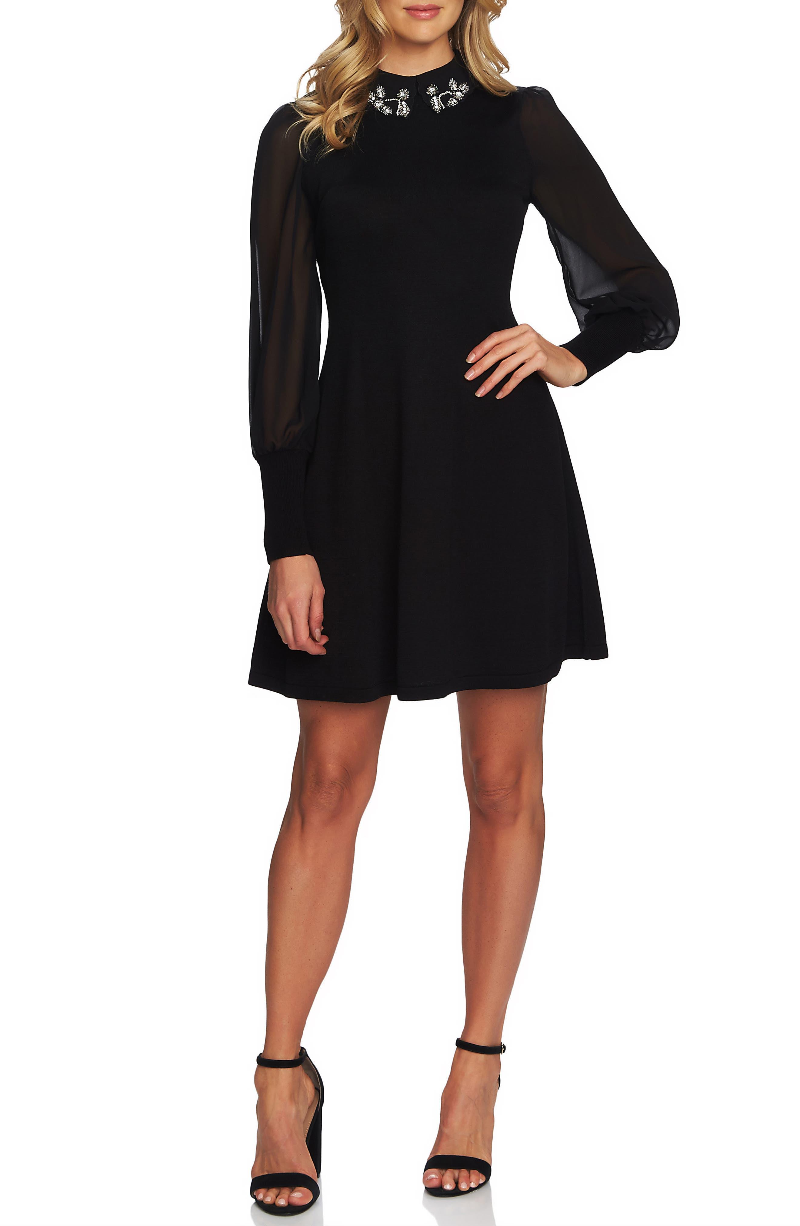Embellished Collar Dress,                             Main thumbnail 1, color,                             RICH BLACK