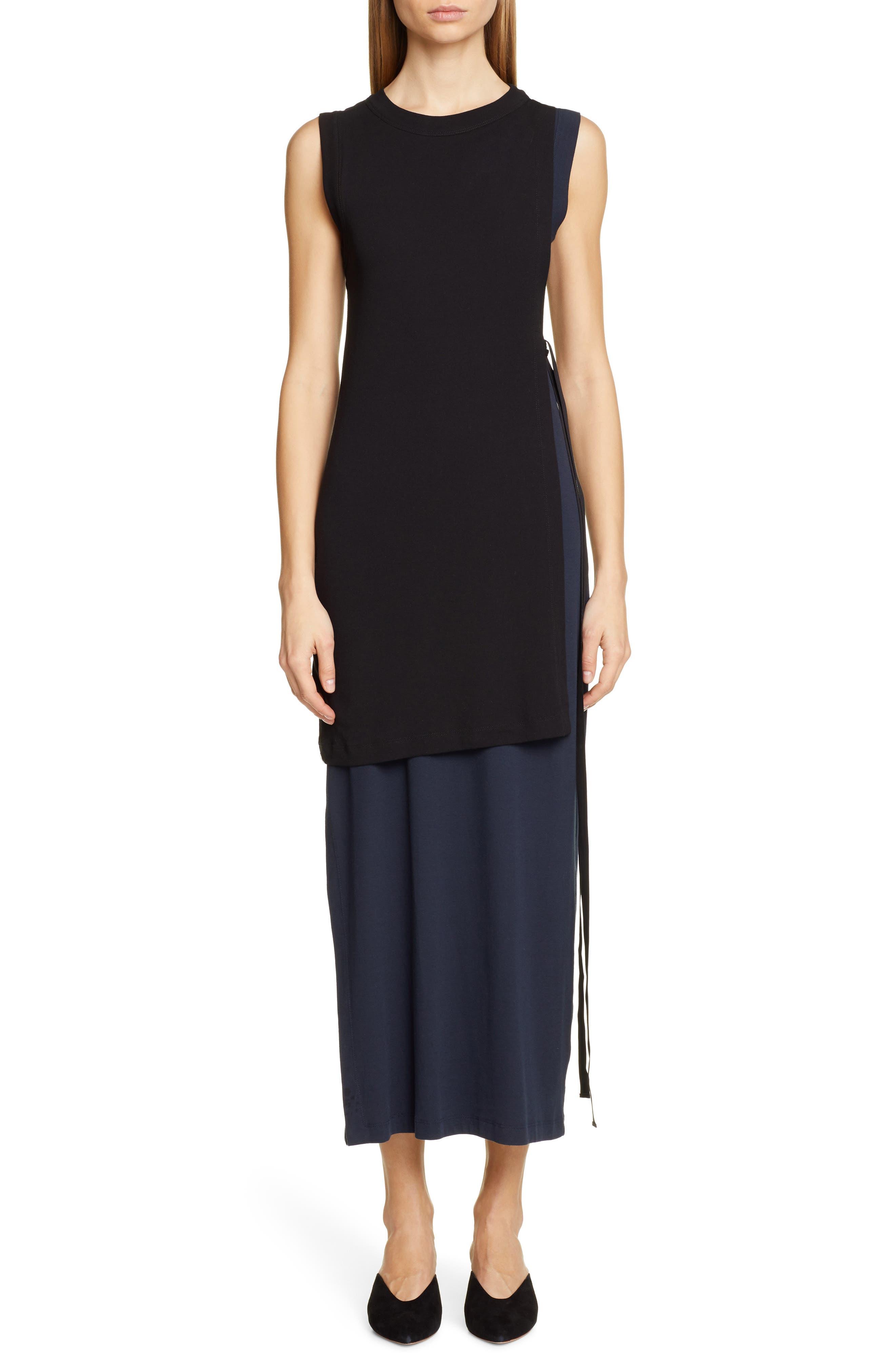 Rosetta Getty Layered Split Side Cotton Dress, Black
