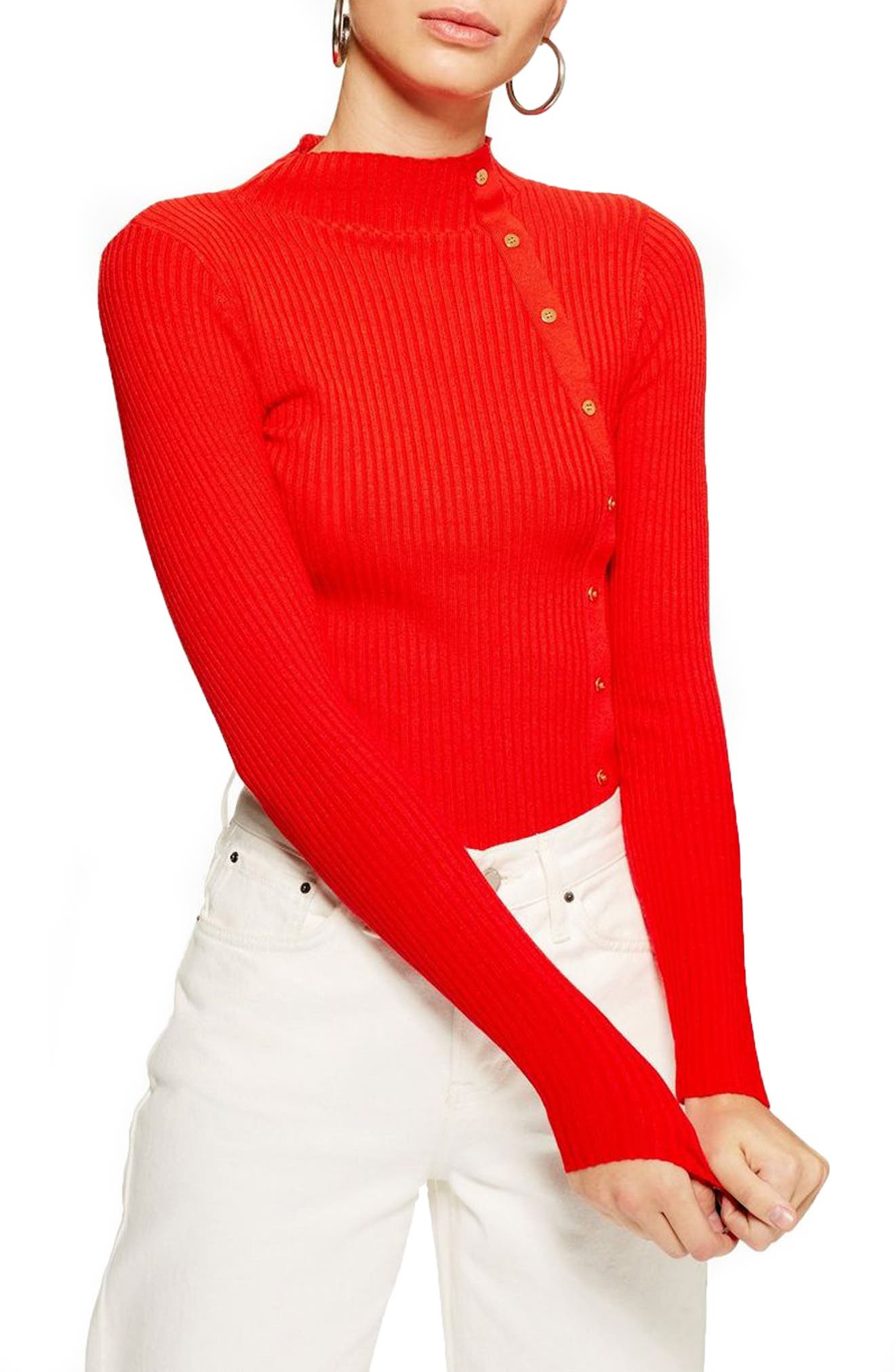 Side Button Rib Sweater,                             Main thumbnail 1, color,                             RED