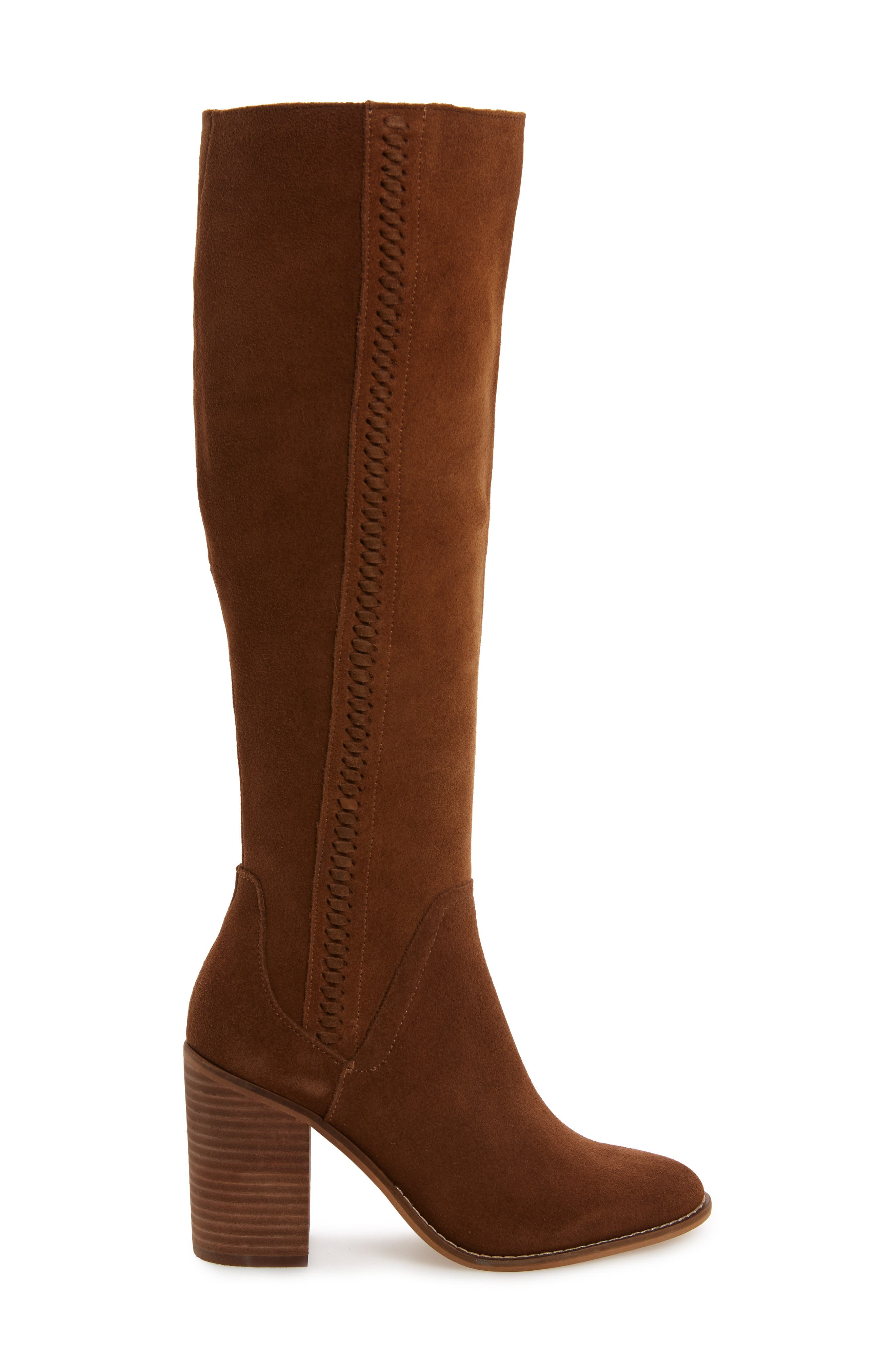 Roxana Knee High Boot,                             Alternate thumbnail 3, color,                             CHESTNUT SUEDE