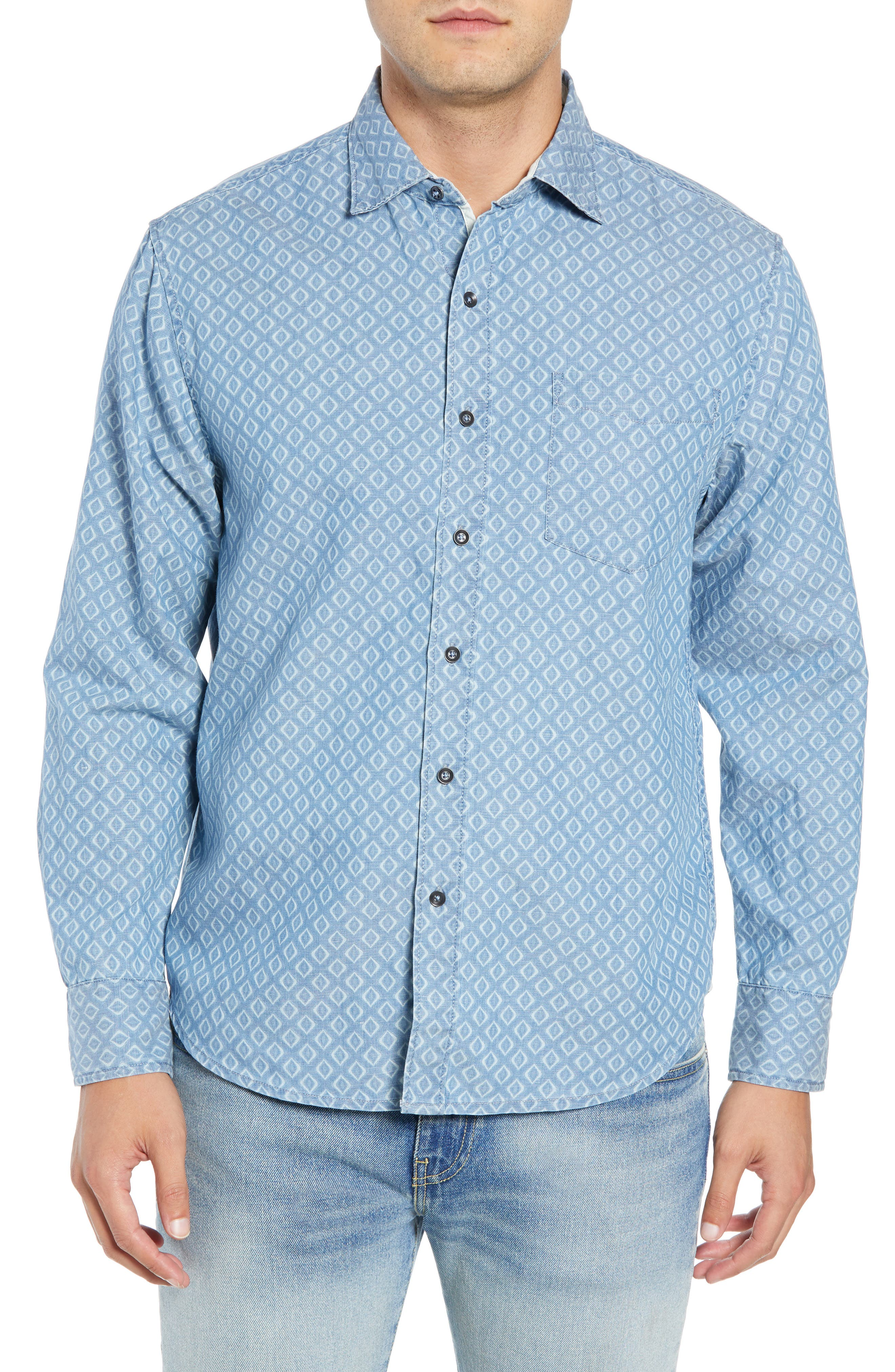 Geo Indigo Regular Fit Sport Shirt,                             Main thumbnail 1, color,                             400