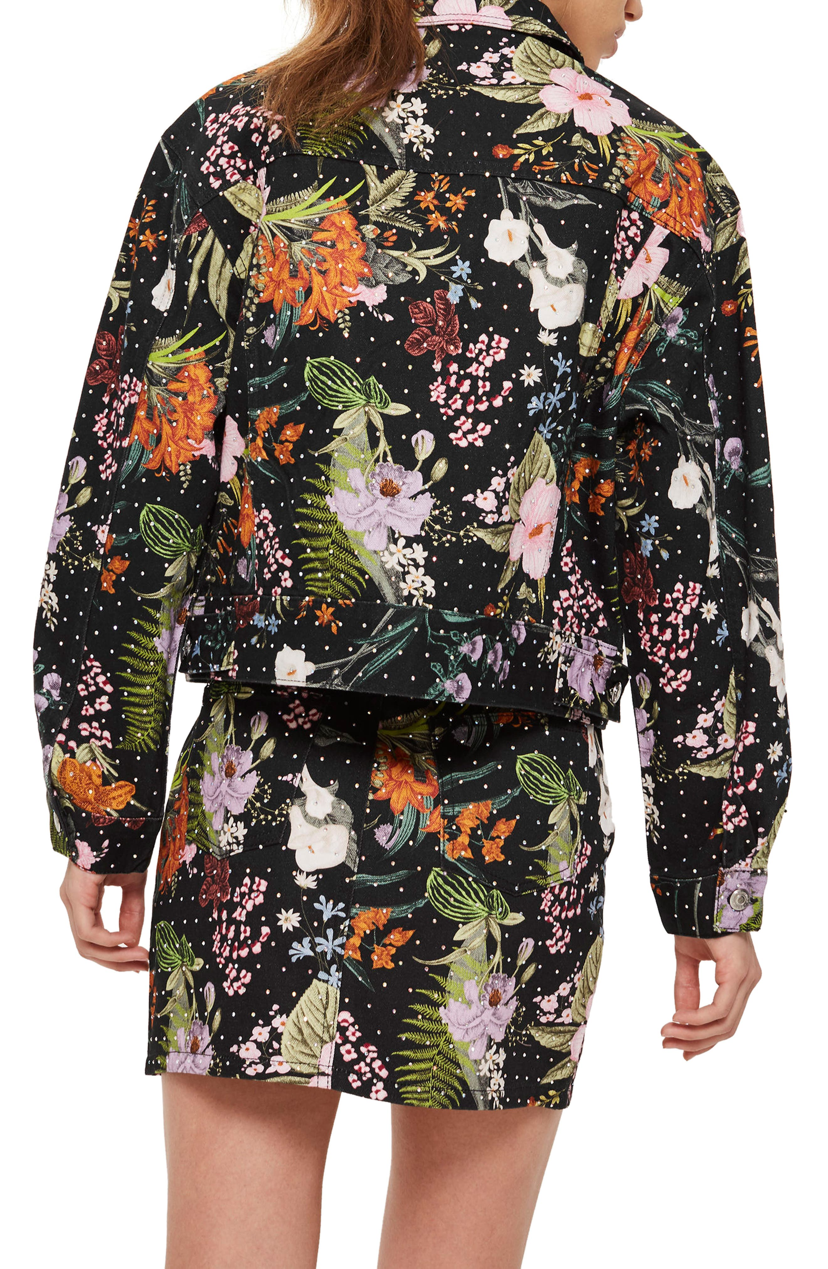 Hawaii Floral Crystal Denim Jacket,                             Alternate thumbnail 2, color,                             001