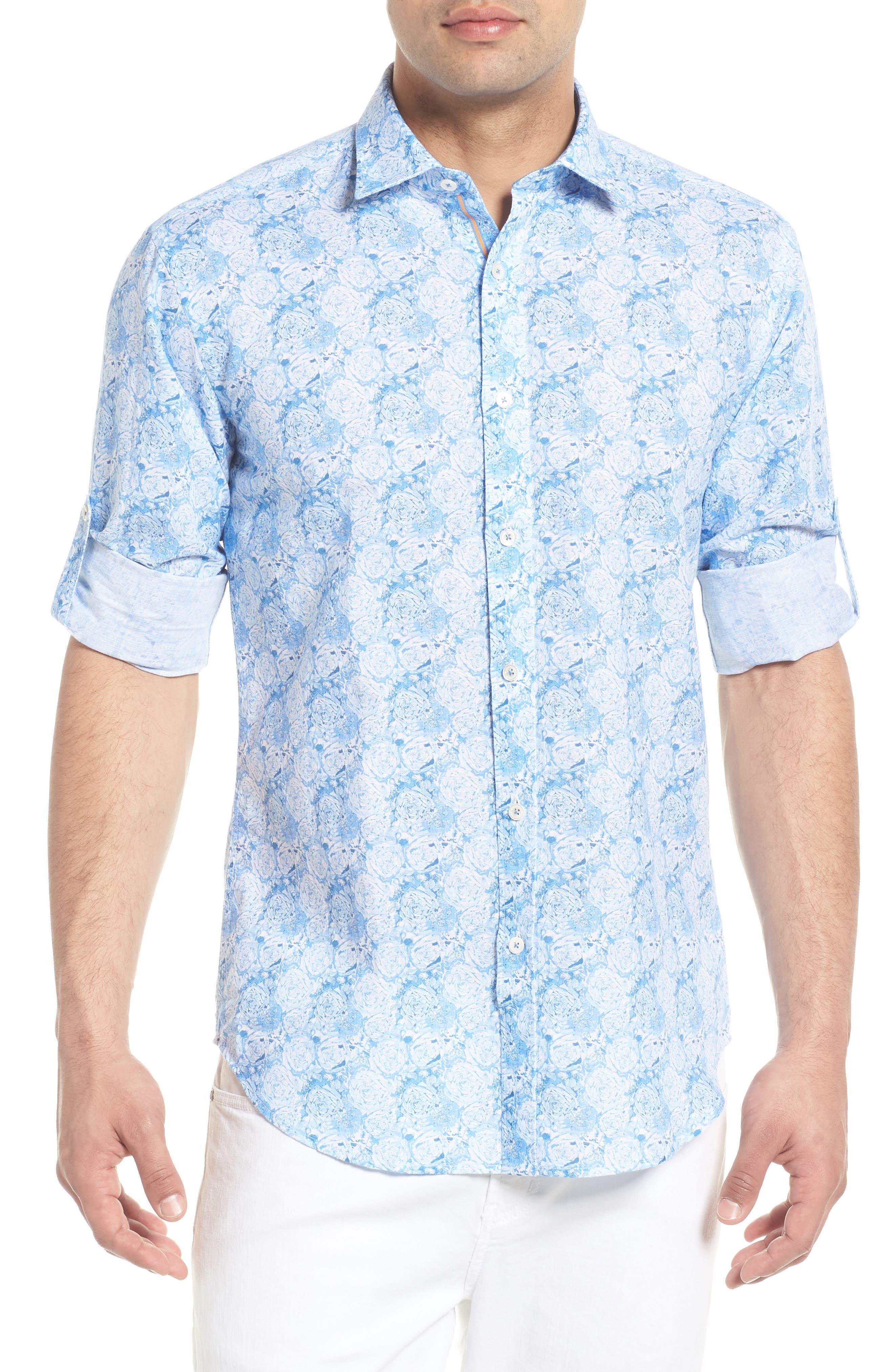 Shaped Fit Rose Print Linen Blend Sport Shirt,                         Main,                         color, SKY