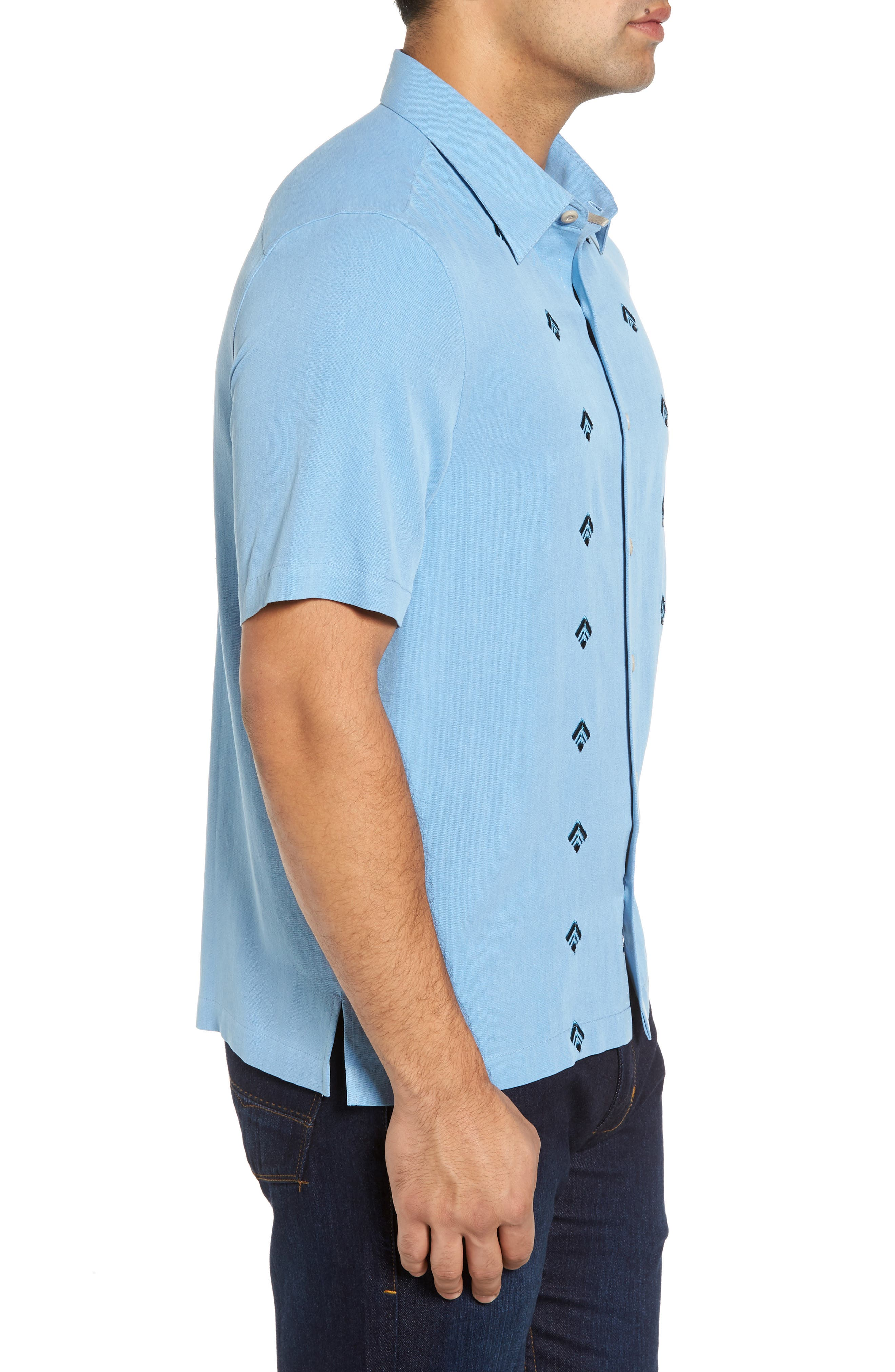 Nordic Embroidered Silk Blend Sport Shirt,                             Alternate thumbnail 6, color,