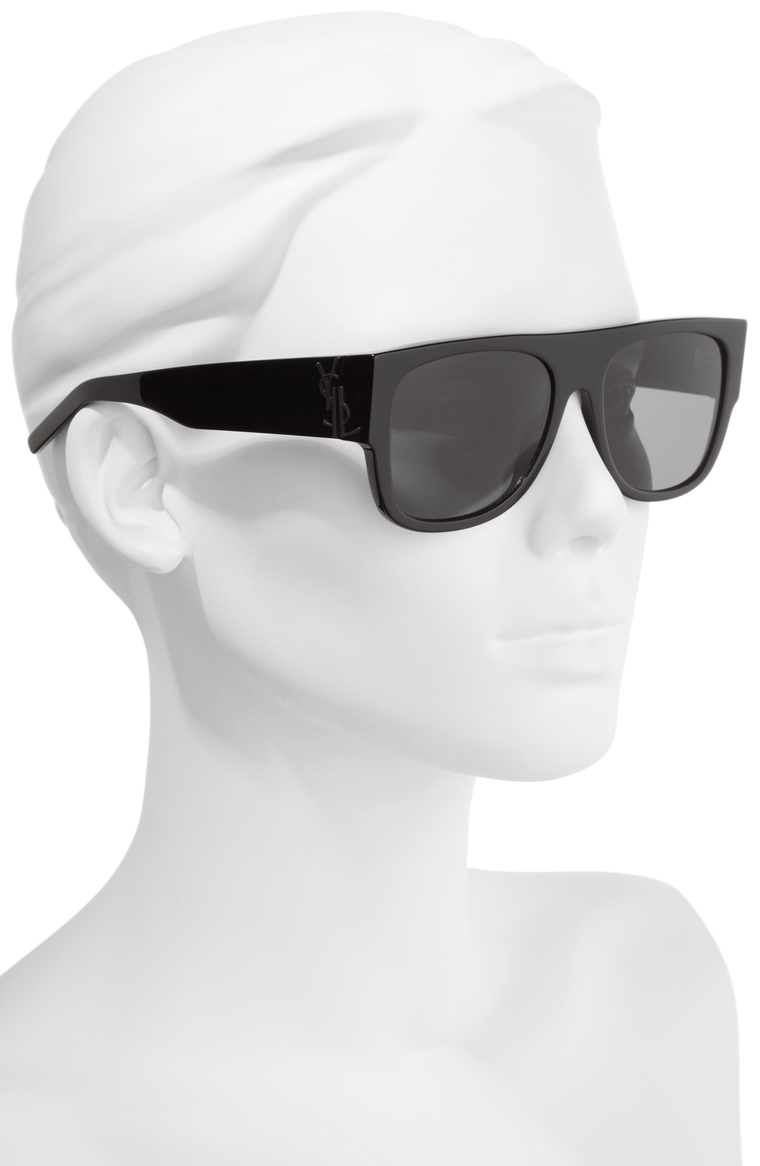 SL M16 55mm Flat Top Sunglasses,                             Alternate thumbnail 2, color,                             001