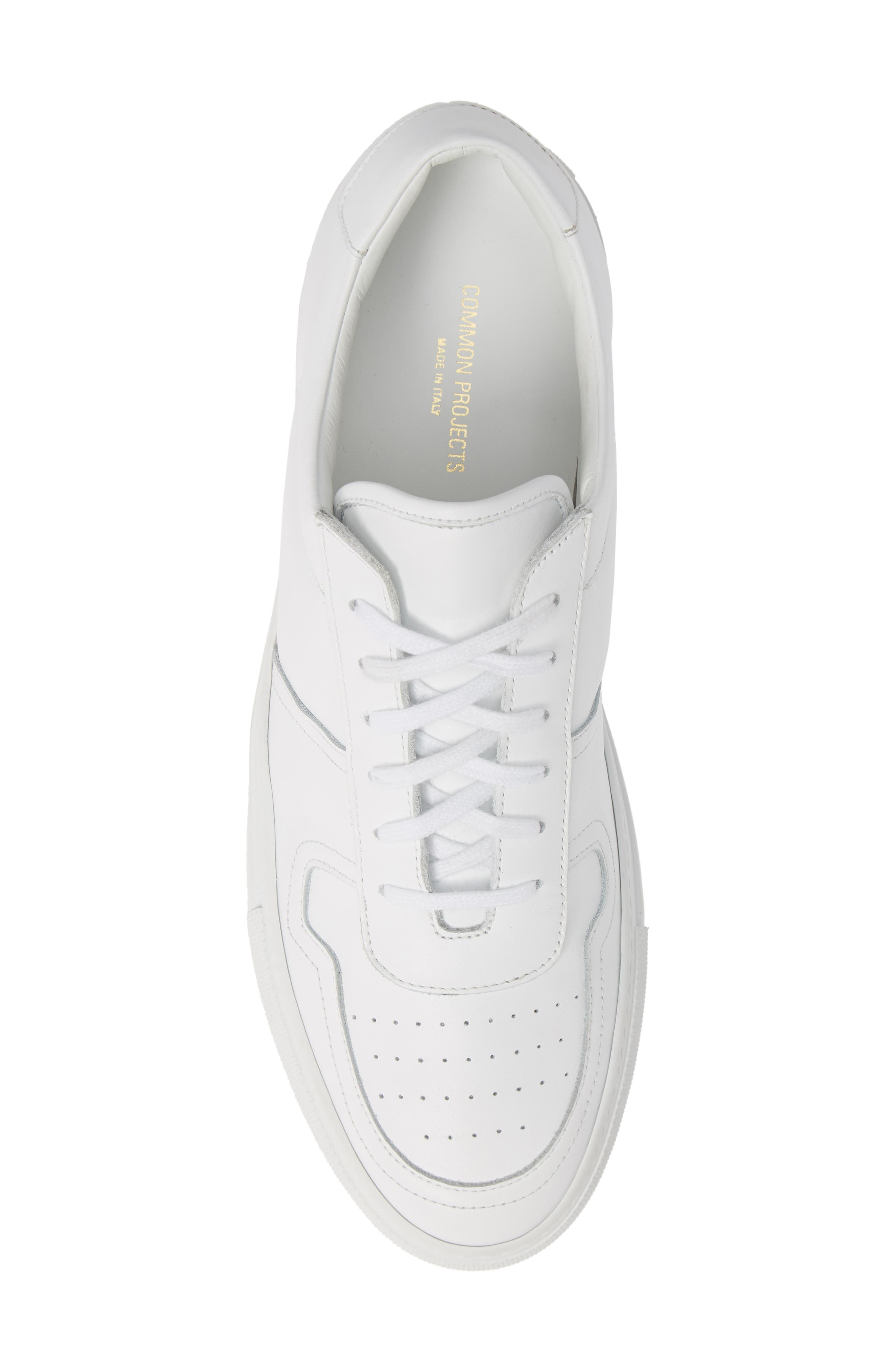 COMMON PROJECTS,                             Bball Low Top Sneaker,                             Alternate thumbnail 5, color,                             WHITE