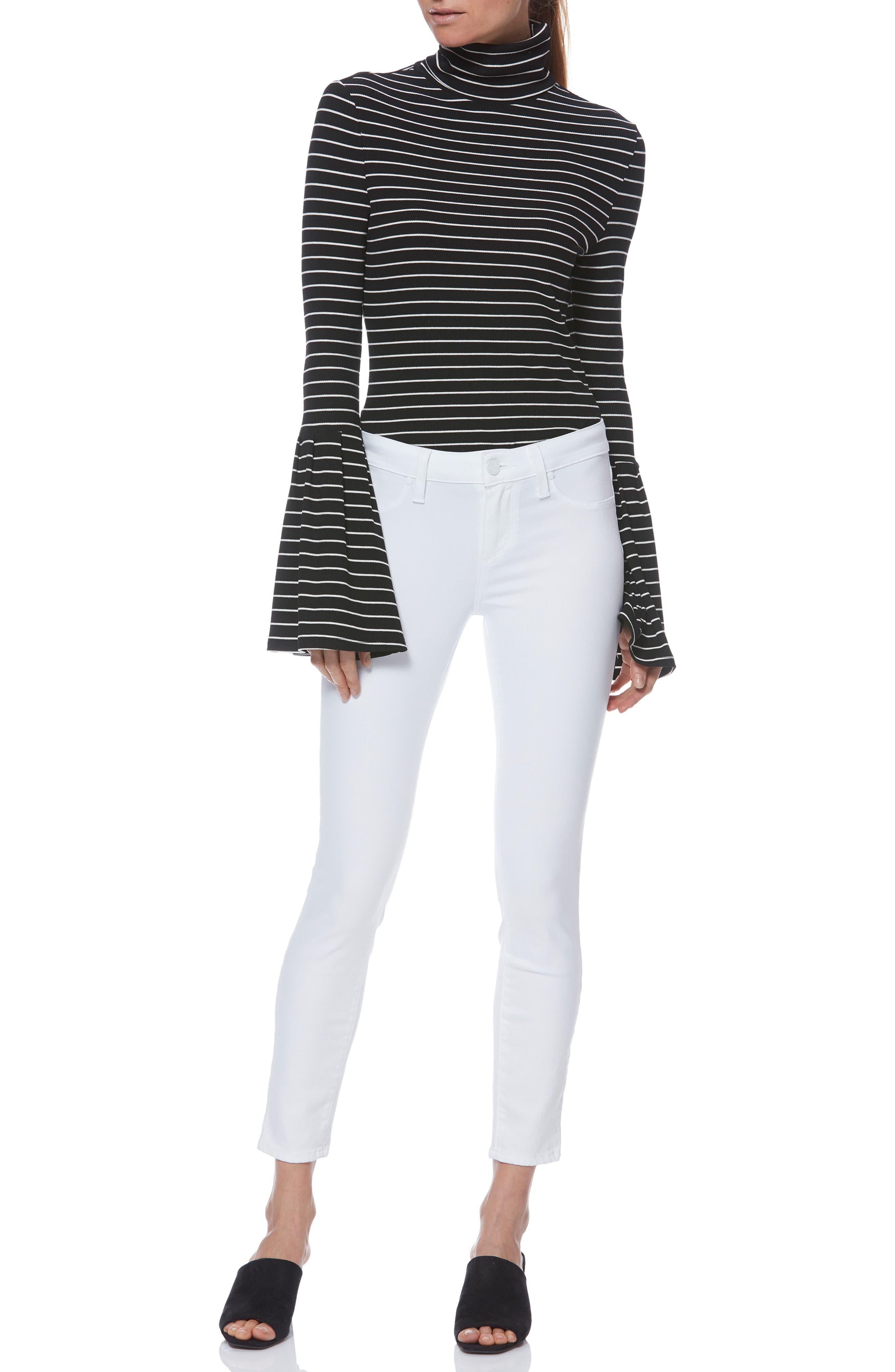 PAIGE,                             Verdugo Faux Pocket Crop Skinny Jeans,                             Alternate thumbnail 6, color,                             VIVID WHITE