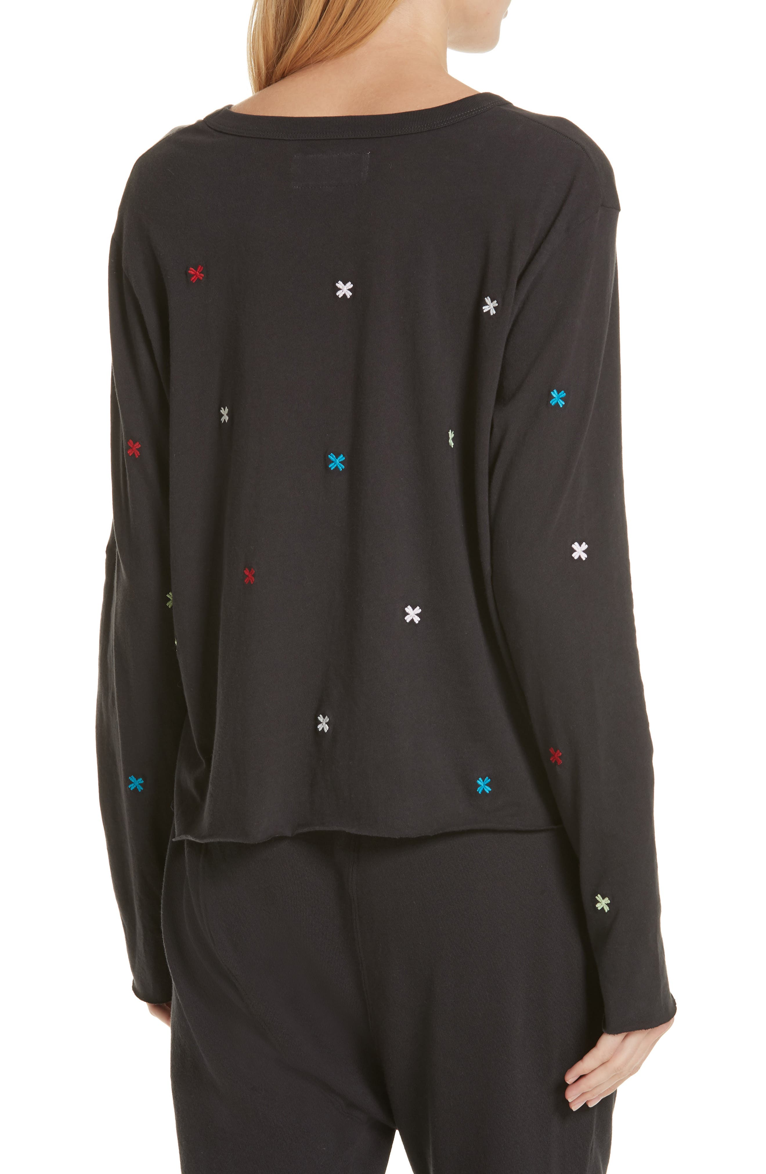 The Long Sleeve Embroidered Crop Tee,                             Alternate thumbnail 2, color,                             ALMOST BLACK/ MULTI