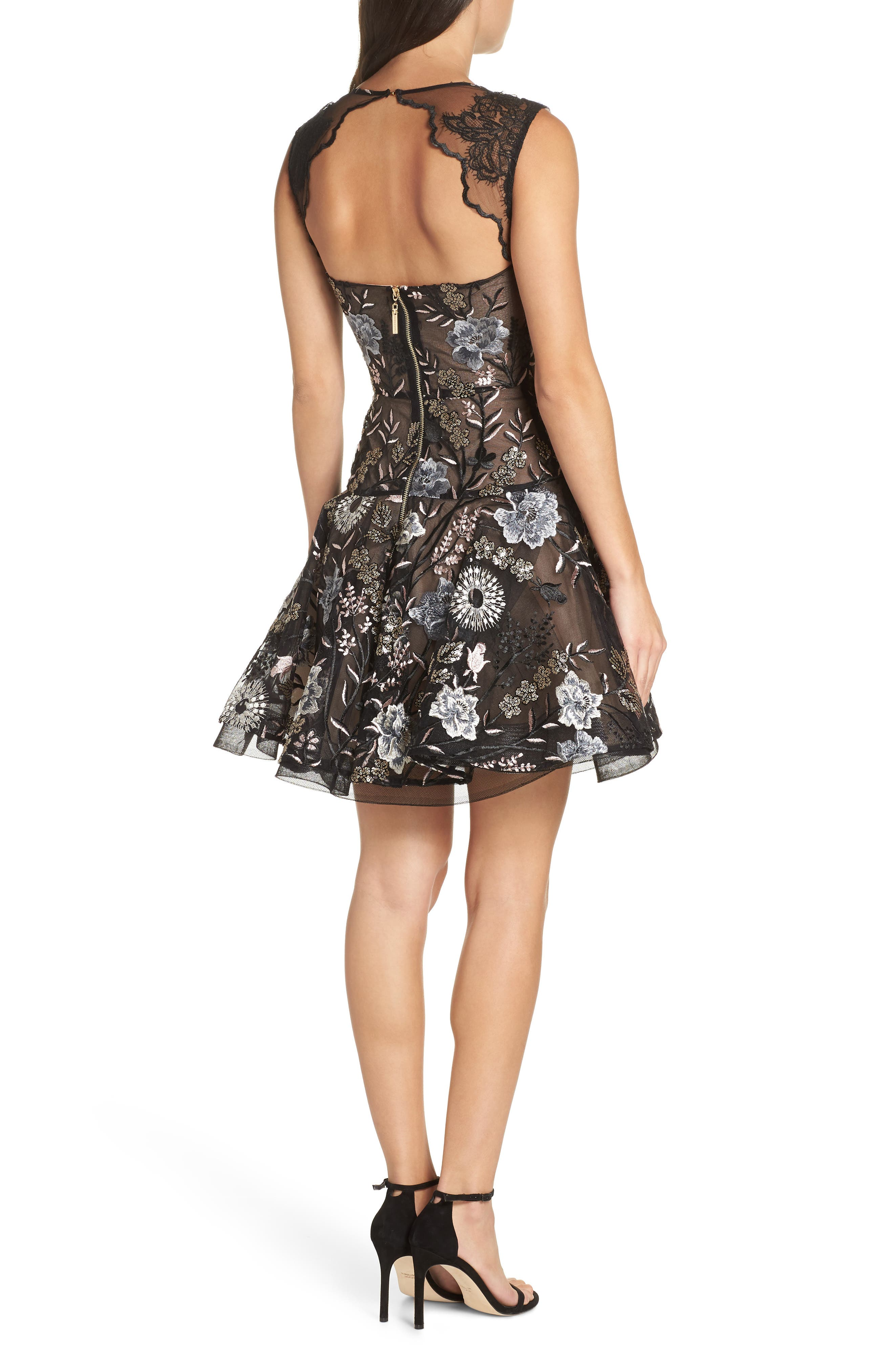 Tiara Sequin Embroidered Mesh Party Dress,                             Alternate thumbnail 2, color,                             BLACK