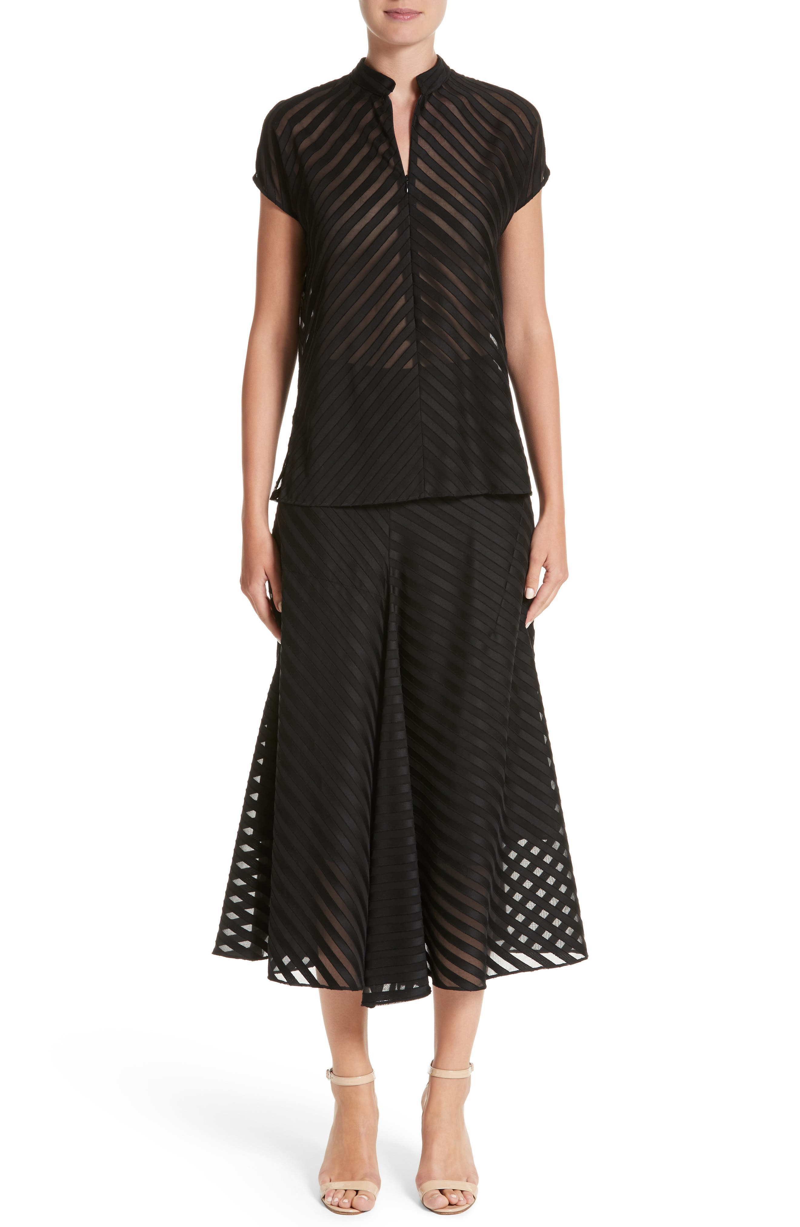 Diagonal Stripe Cotton Voile Midi Skirt,                             Alternate thumbnail 7, color,                             009