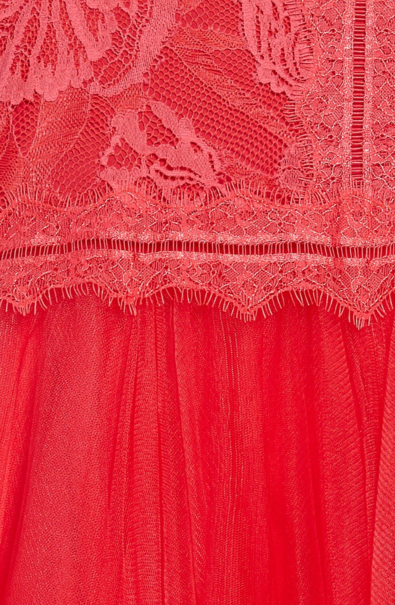 Floral Lace Tulle Dress,                             Alternate thumbnail 3, color,                             605