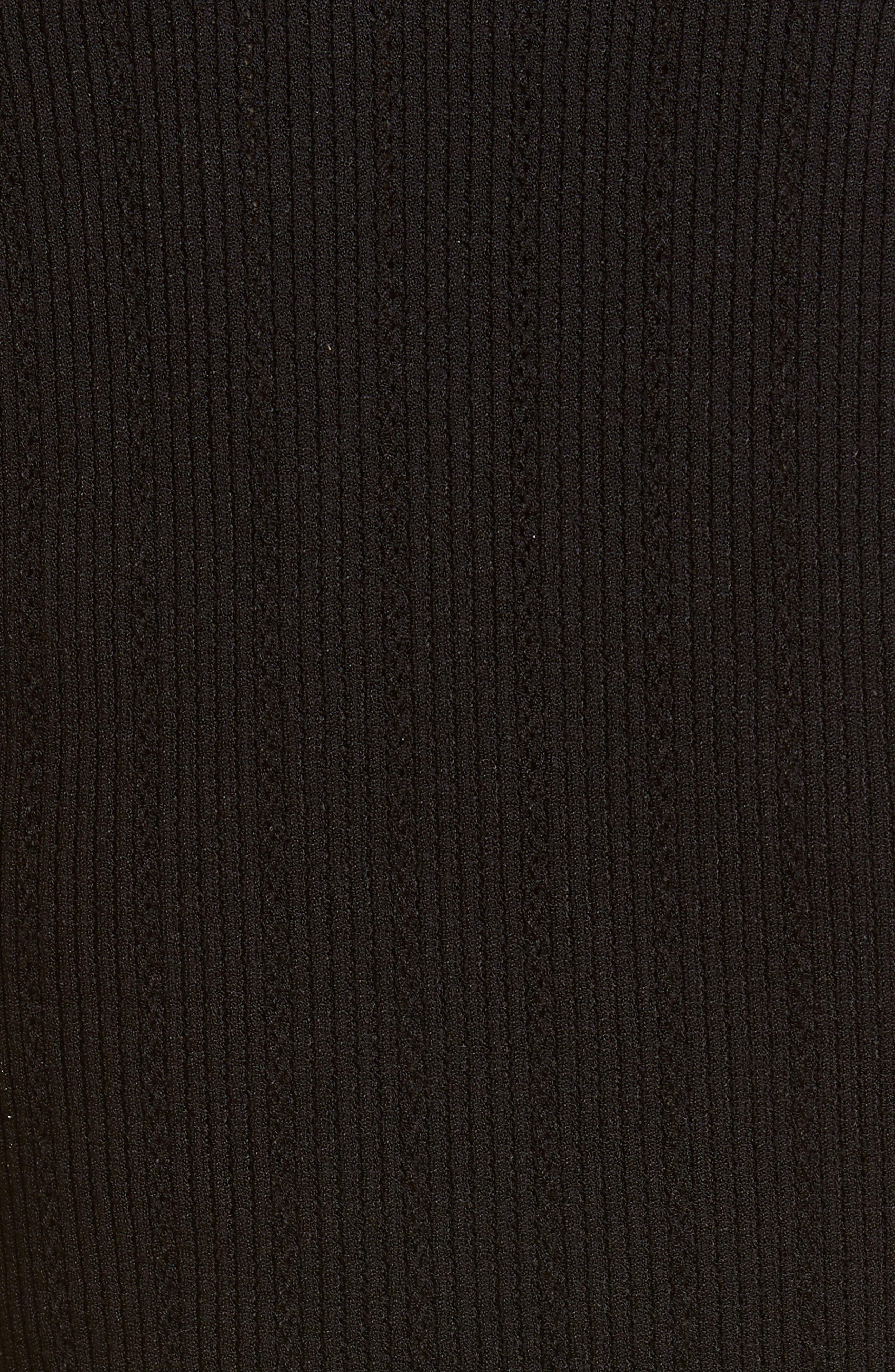 BALMAIN,                             Shoulder Button Rib Knit Top,                             Alternate thumbnail 5, color,                             0PA NOIR