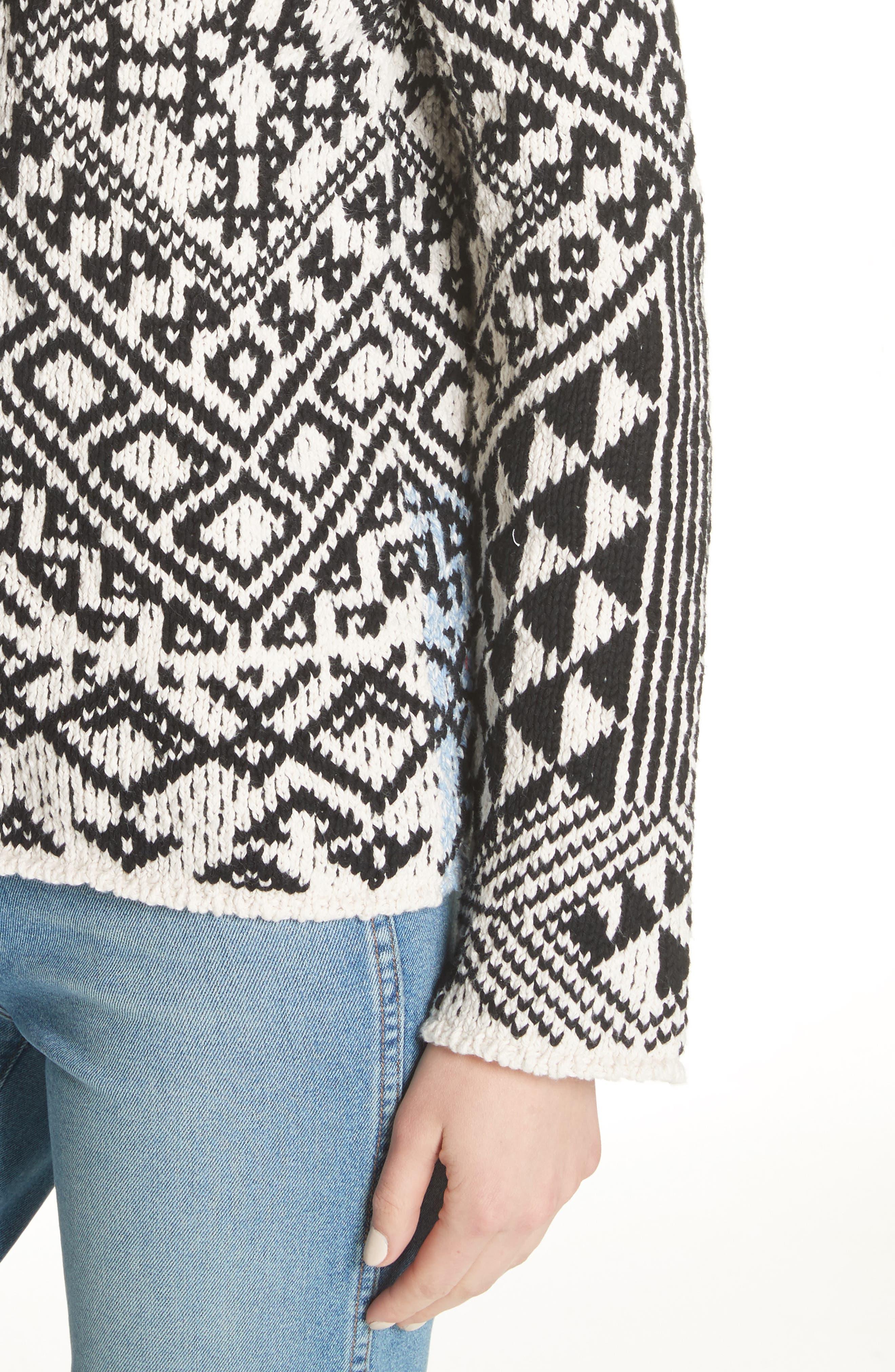 Rhia Jacquard Sweater,                             Alternate thumbnail 4, color,