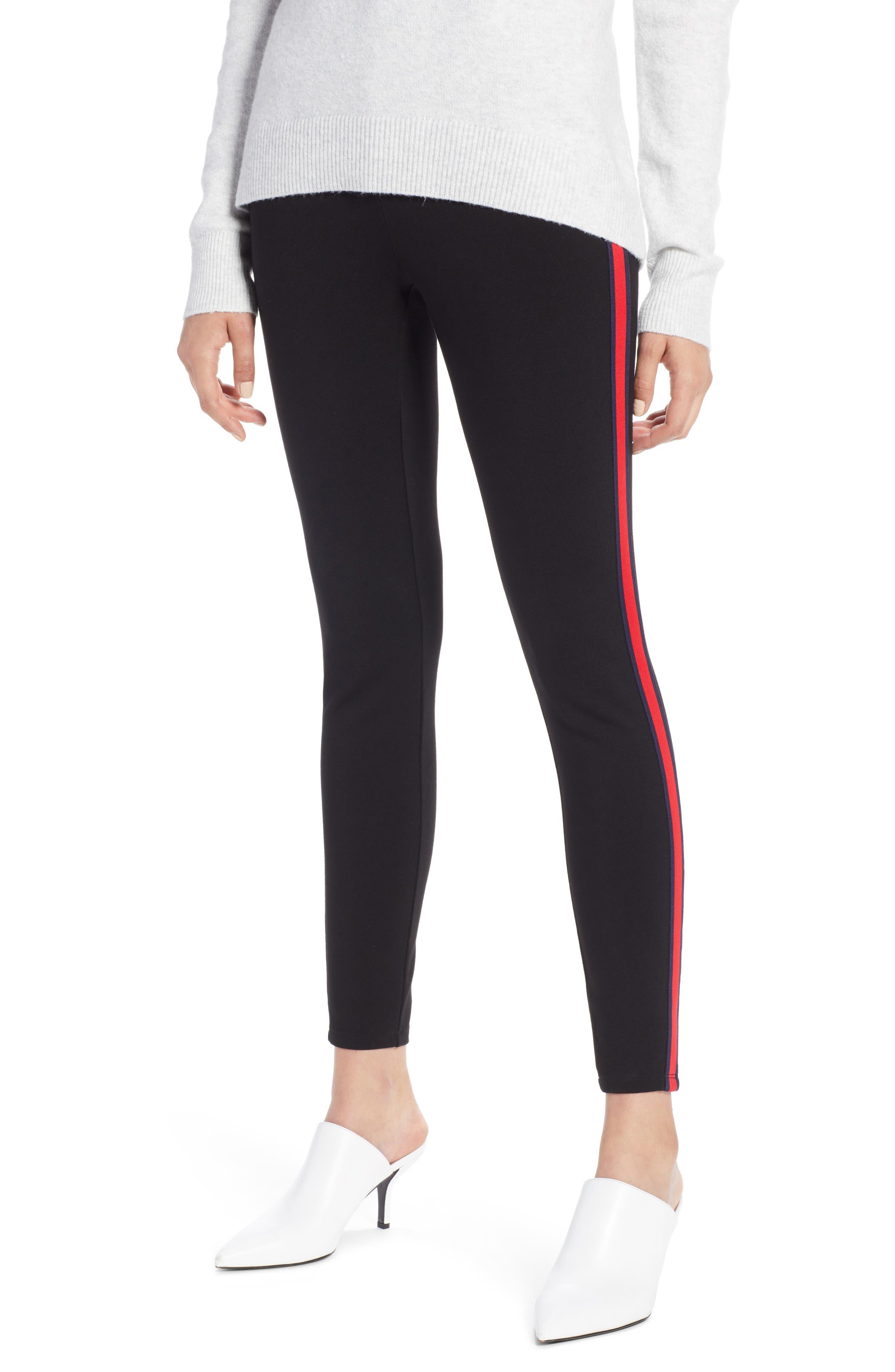 Side Stripe Ponte Pants,                             Main thumbnail 1, color,                             BLACK