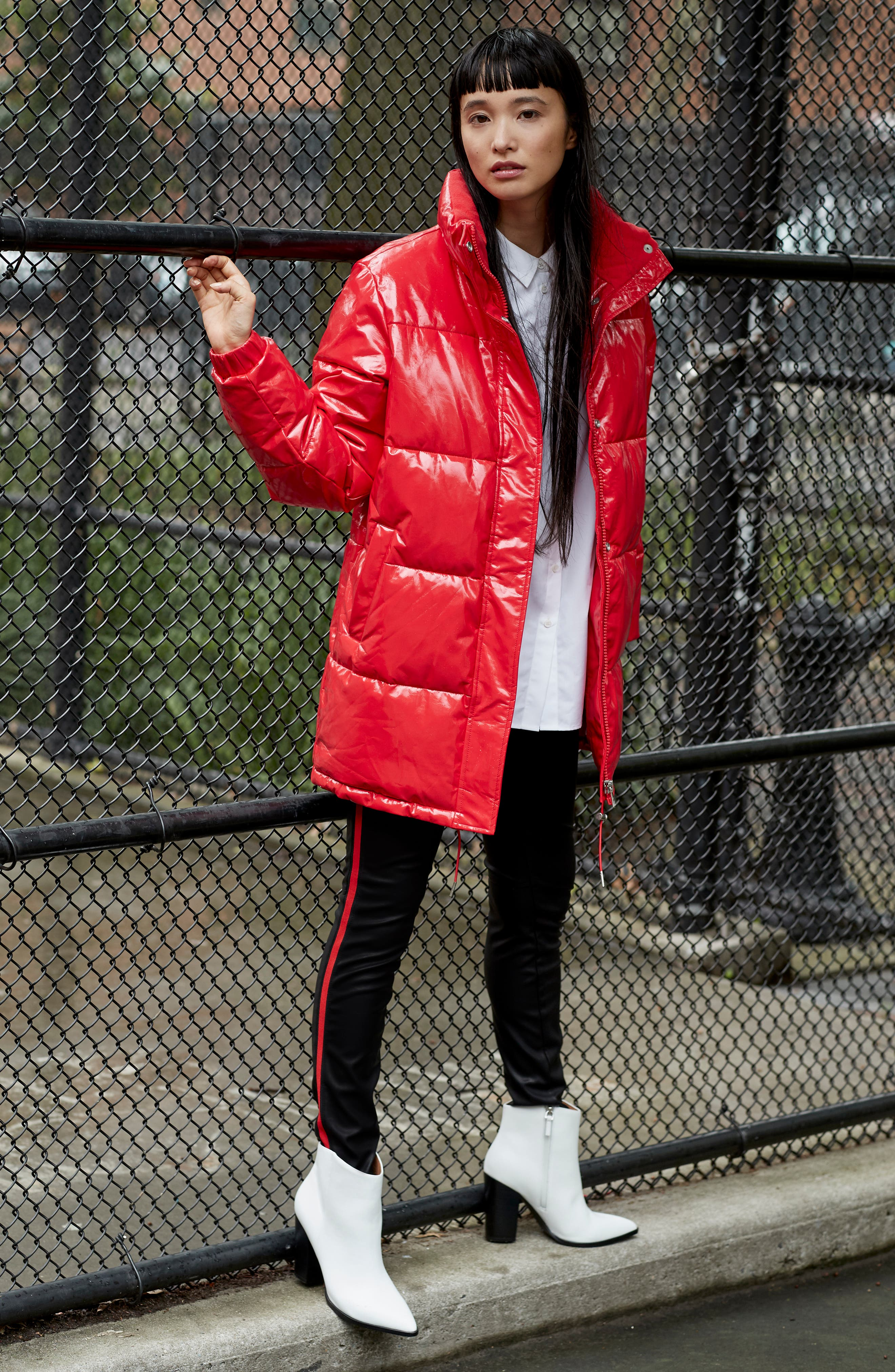 Glossy Puffer Jacket,                             Alternate thumbnail 8, color,                             600