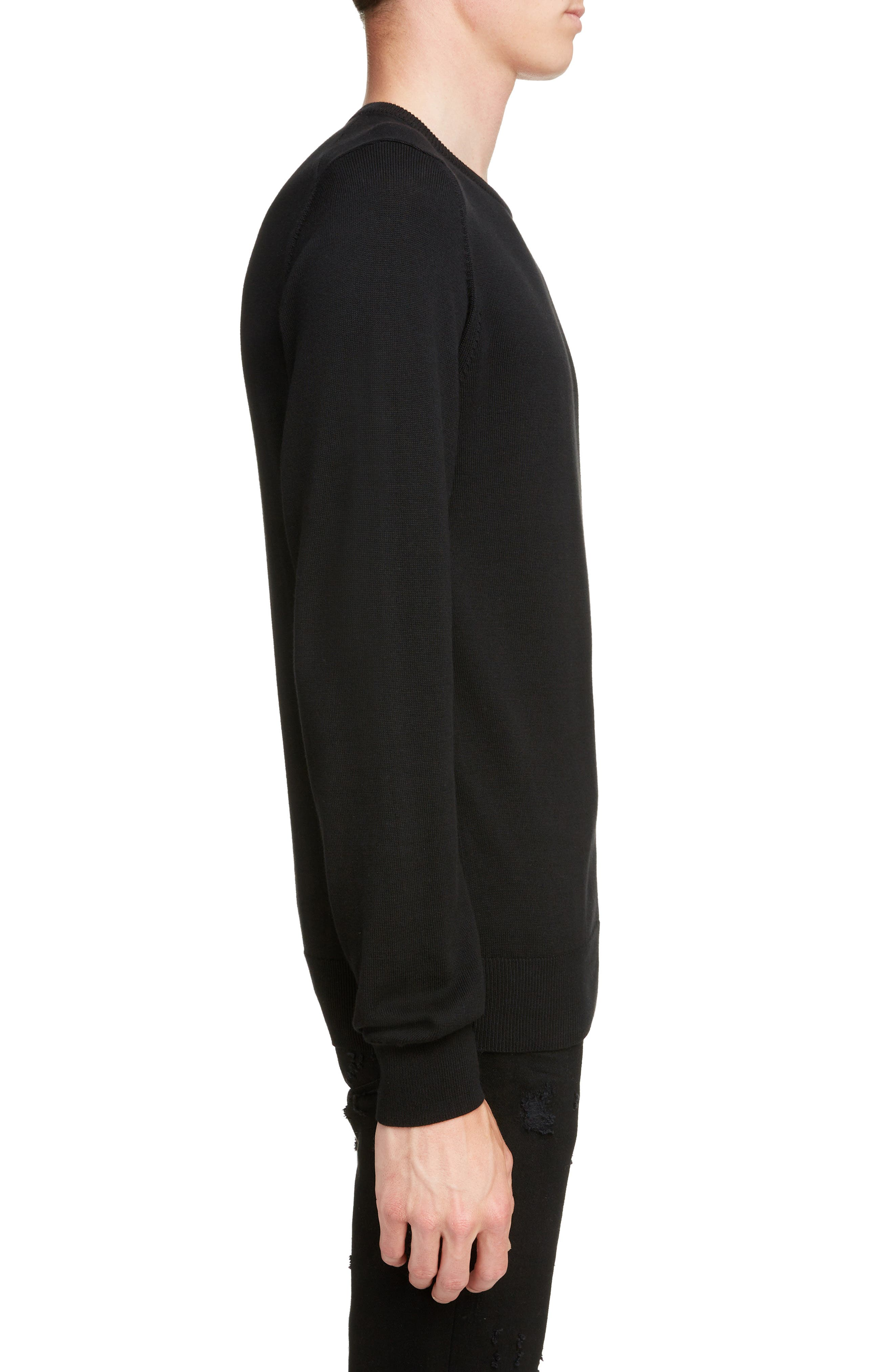 GIVENCHY,                             Tonal Vertical Logo Sweater,                             Alternate thumbnail 3, color,                             BLACK
