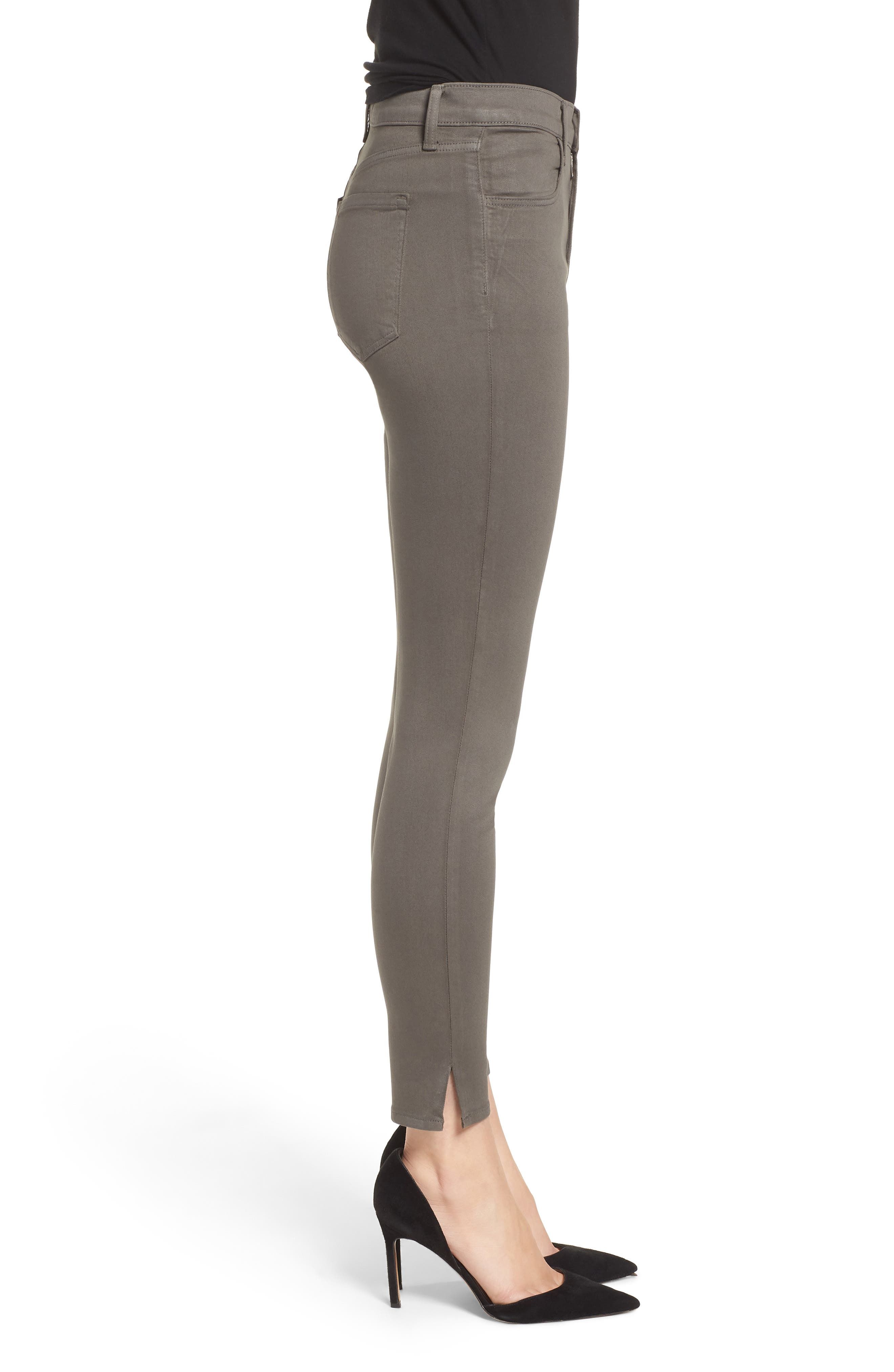 Alana High Waist Crop Skinny Jeans,                             Alternate thumbnail 3, color,                             COATED JUNIPER