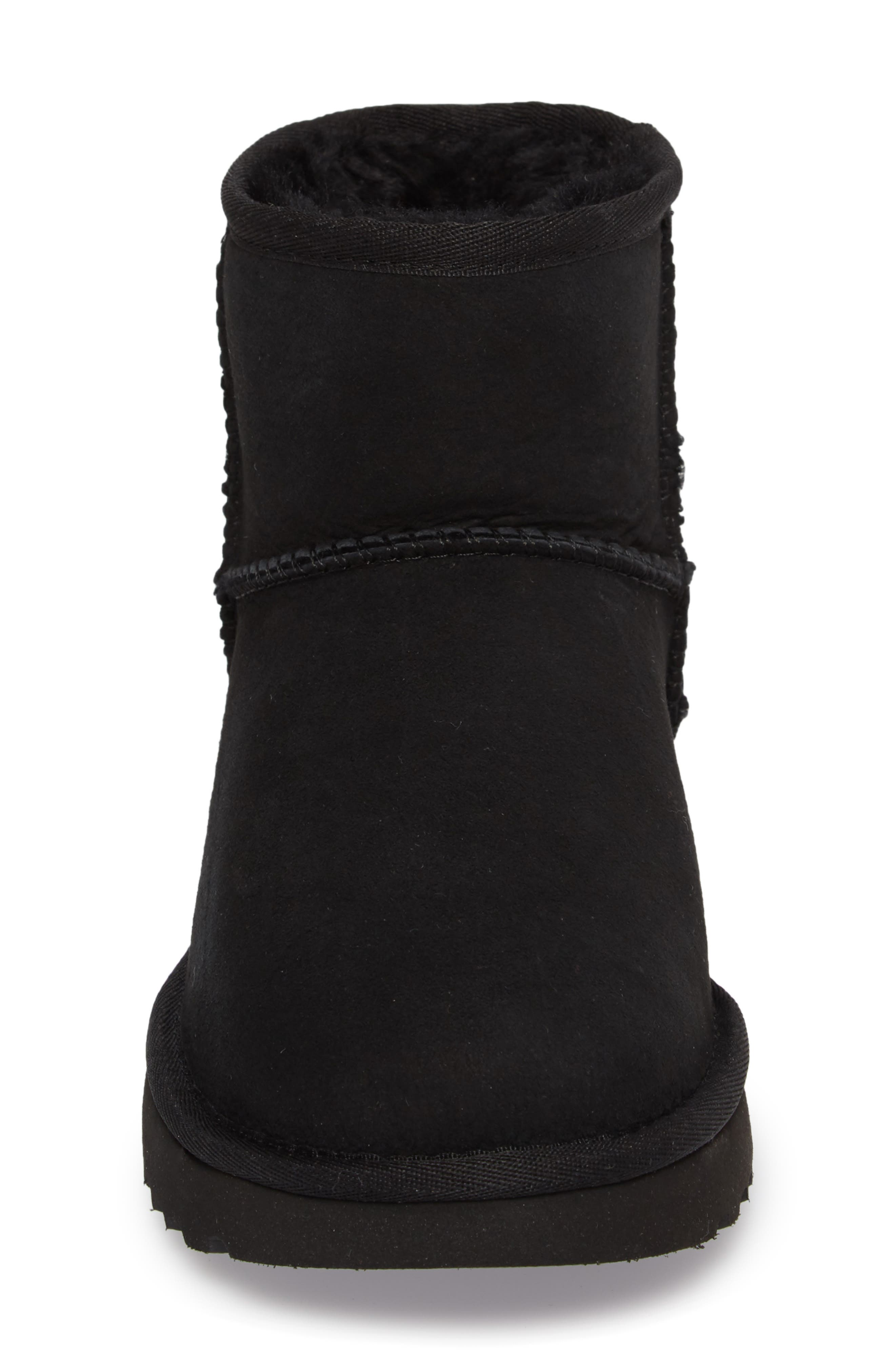 Studded Mini Genuine Shearling Lined Boot,                             Alternate thumbnail 4, color,                             001