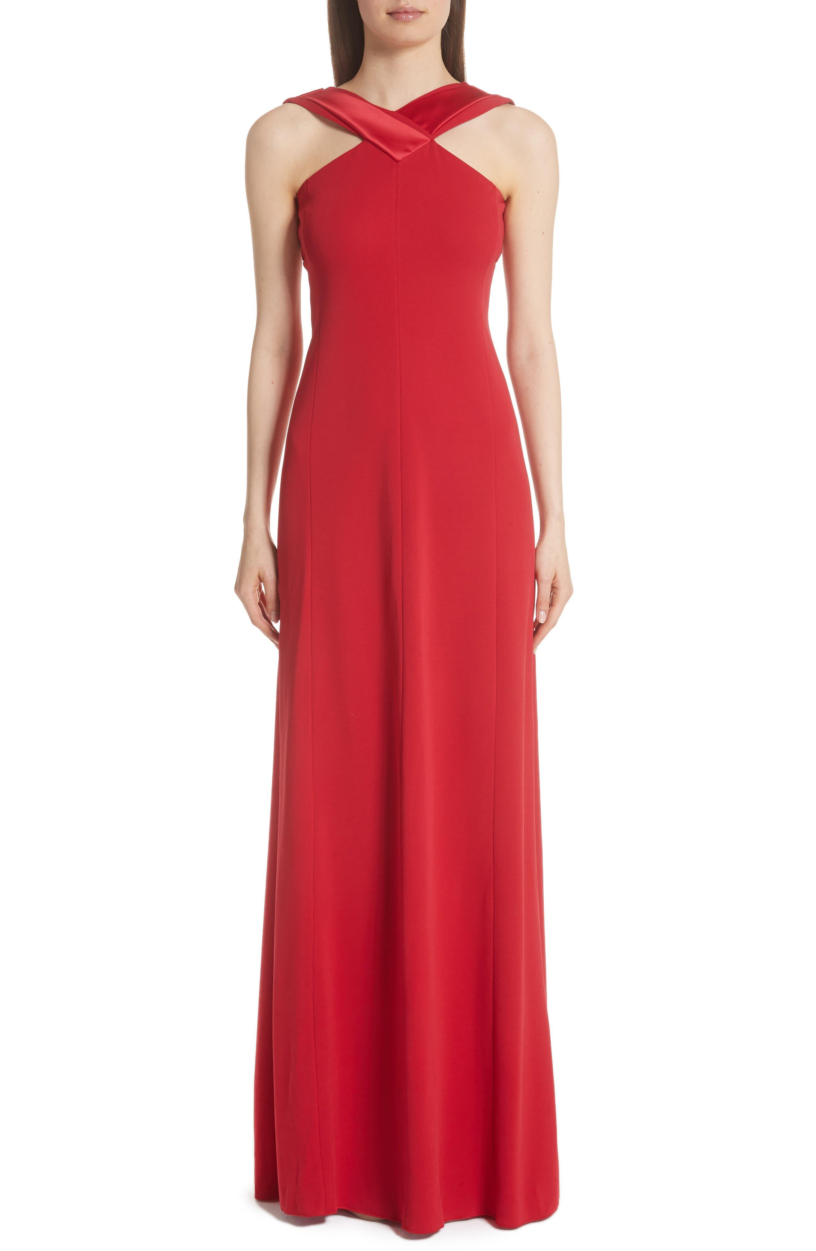 Emporio Armani Satin Neck Gown, US / 48 IT - Red