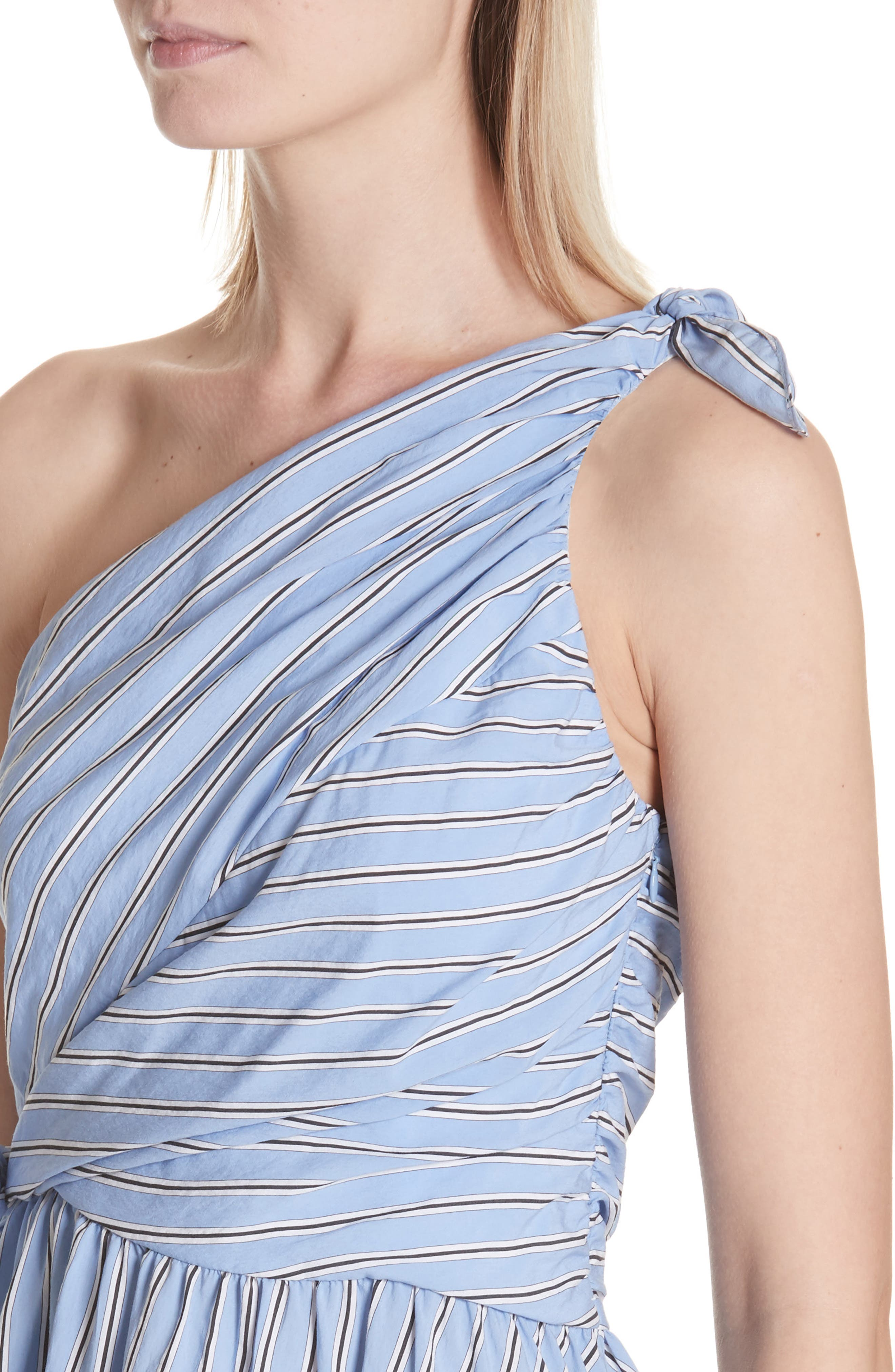 Cabrera Stripe One-Shoulder Dress,                             Alternate thumbnail 4, color,                             420